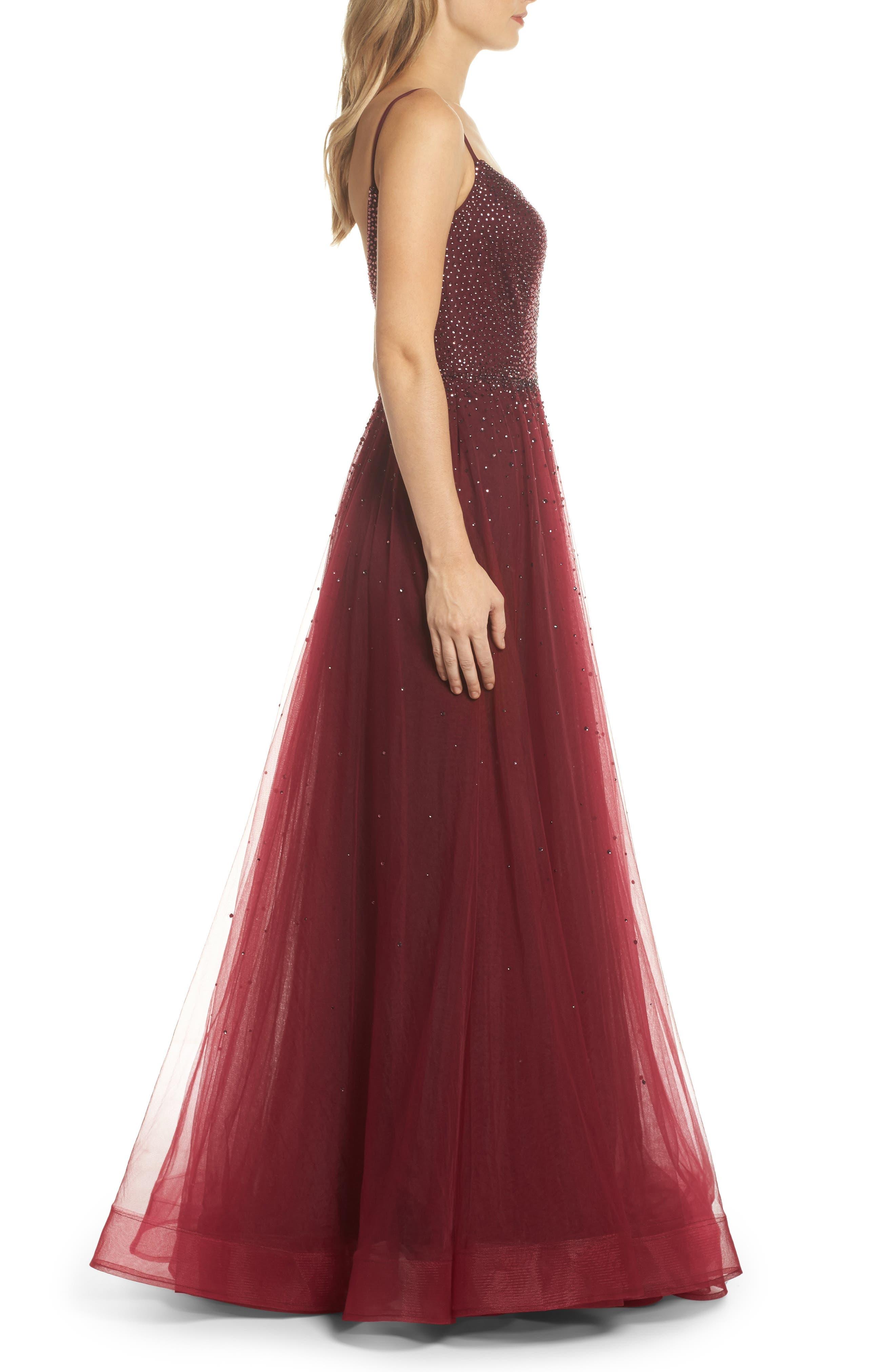 Embellished Illusion Plunge Gown,                             Alternate thumbnail 3, color,                             Garnet