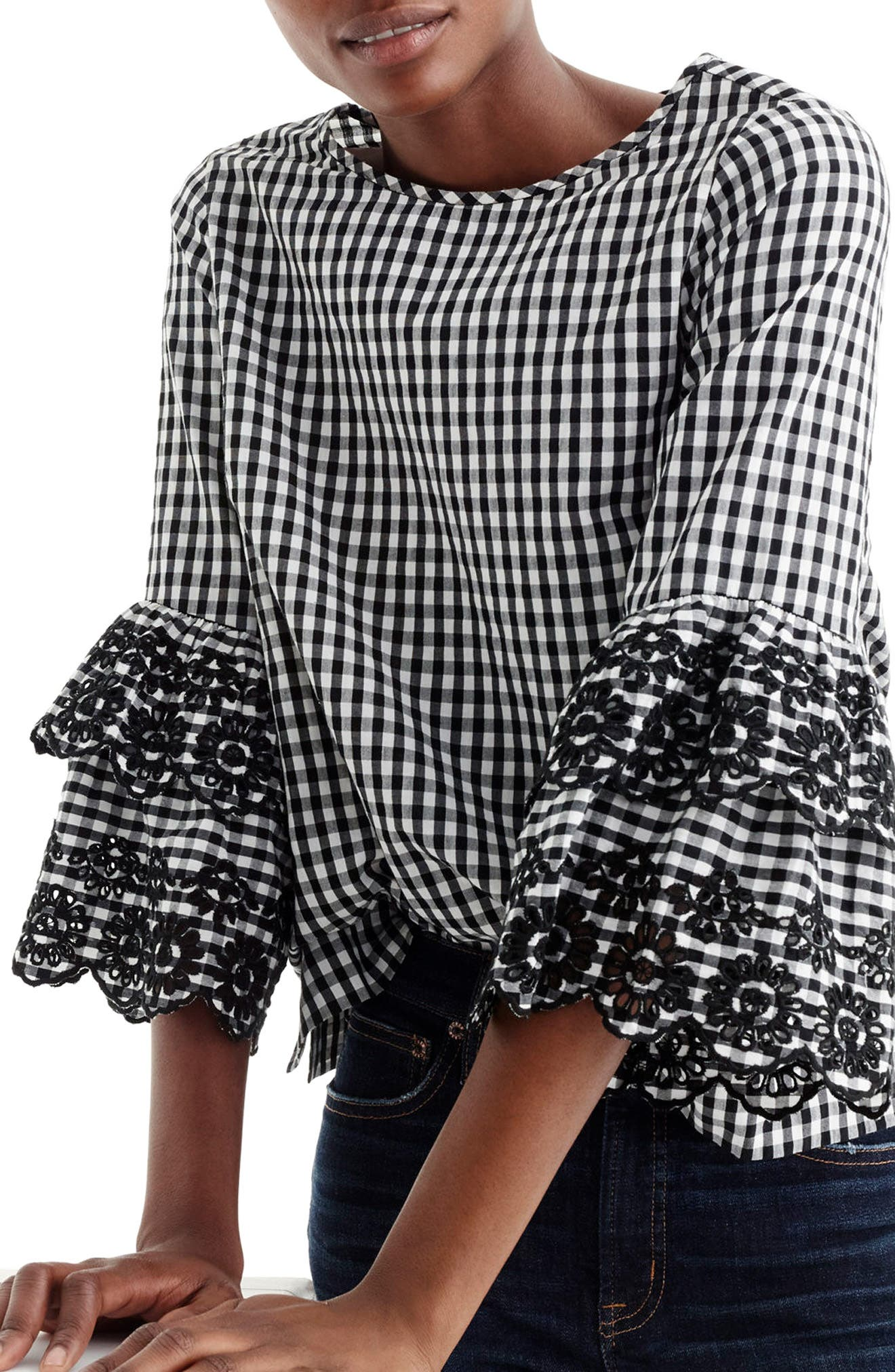 Gingham Tiered Bell Sleeve Top,                             Main thumbnail 1, color,                             Black