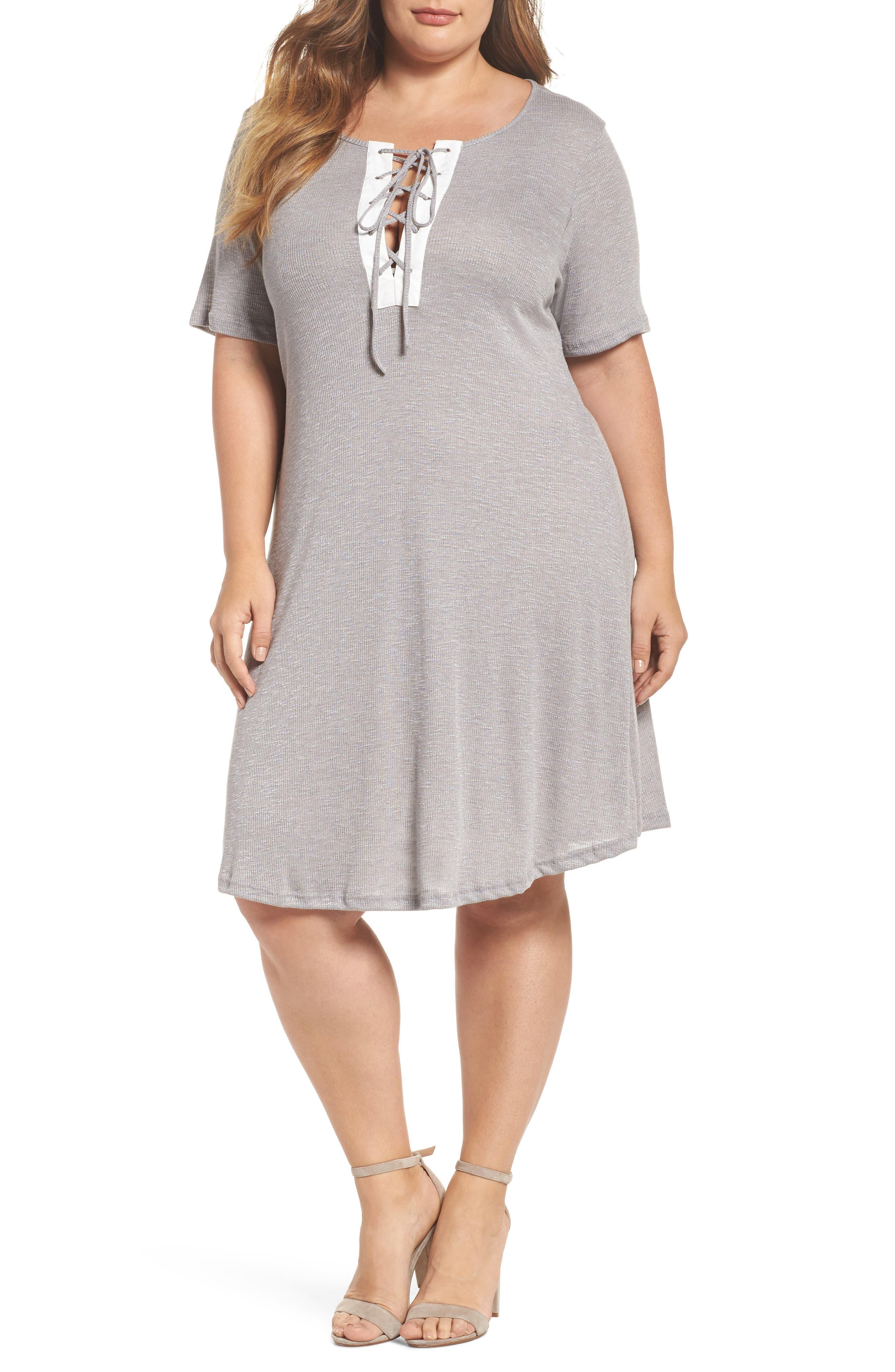 Lace-Up Knit Shift Dress,                         Main,                         color, Grey