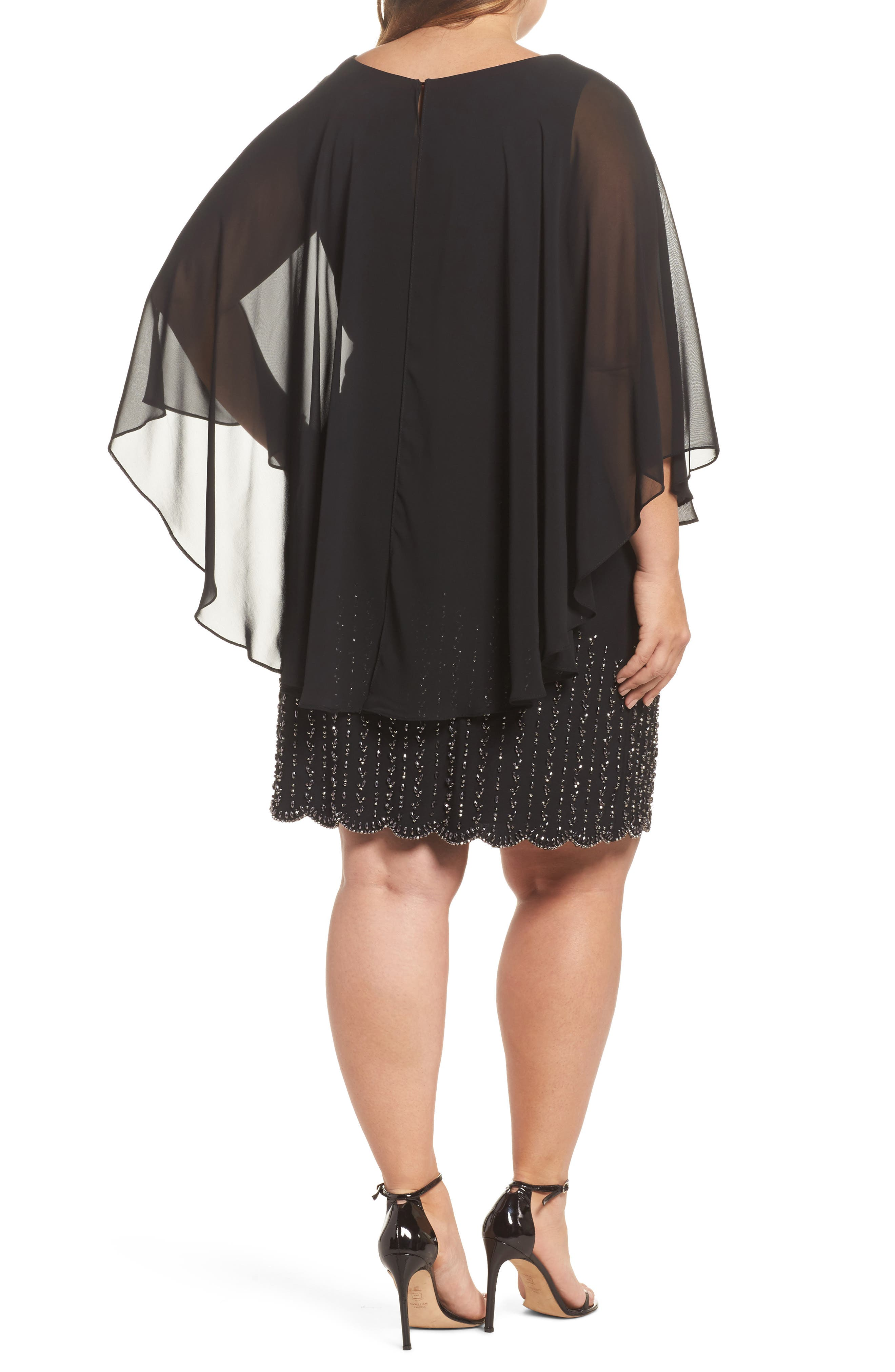 Beaded Overlay Dress,                             Alternate thumbnail 2, color,                             Black