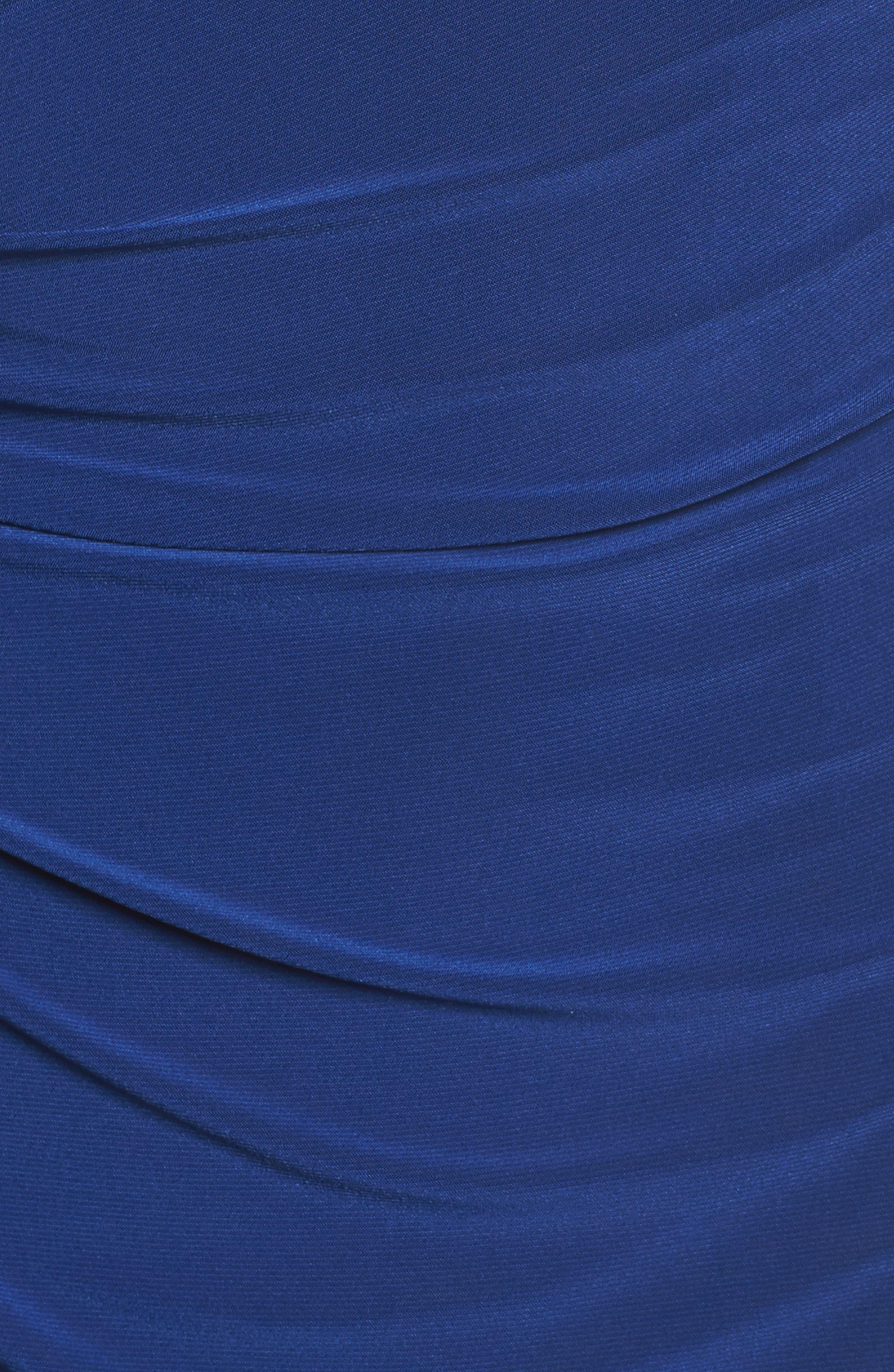 One-Shoulder Ruched Jersey Gown,                             Alternate thumbnail 5, color,                             Blue Violet