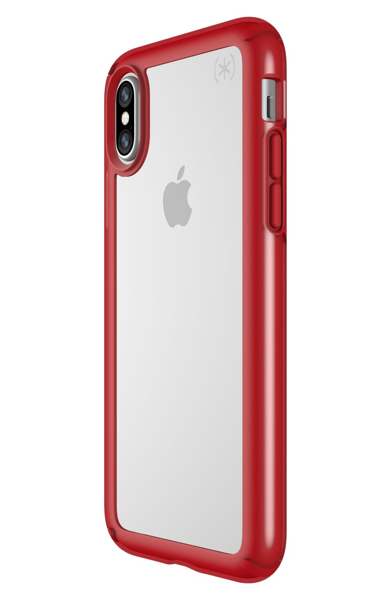 Transparent iPhone X Case,                             Alternate thumbnail 3, color,                             Clear/ Heartthrob Red