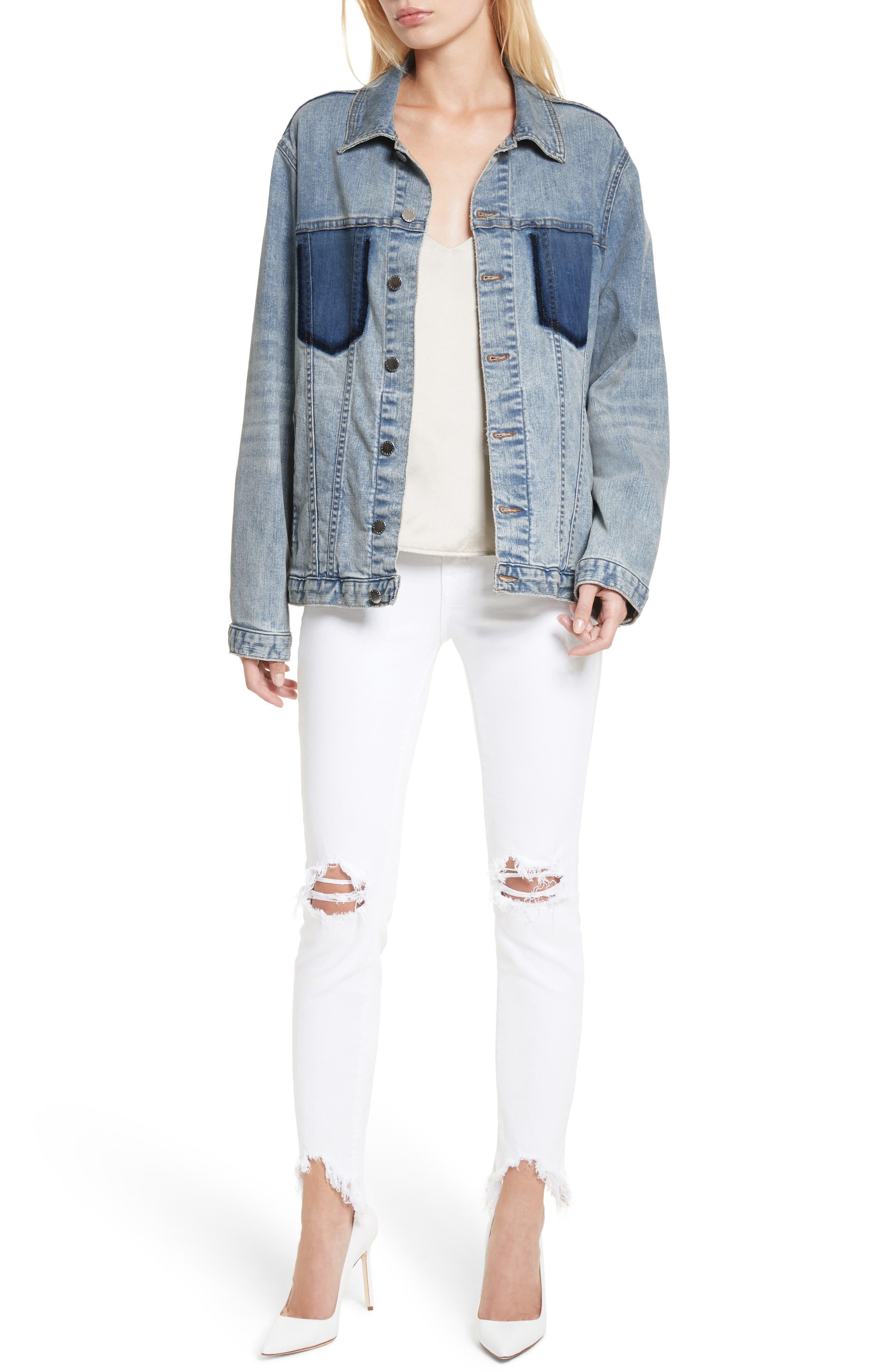 Alternate Image 7  - L'AGENCE Karina Shadow Pocket Denim Jacket