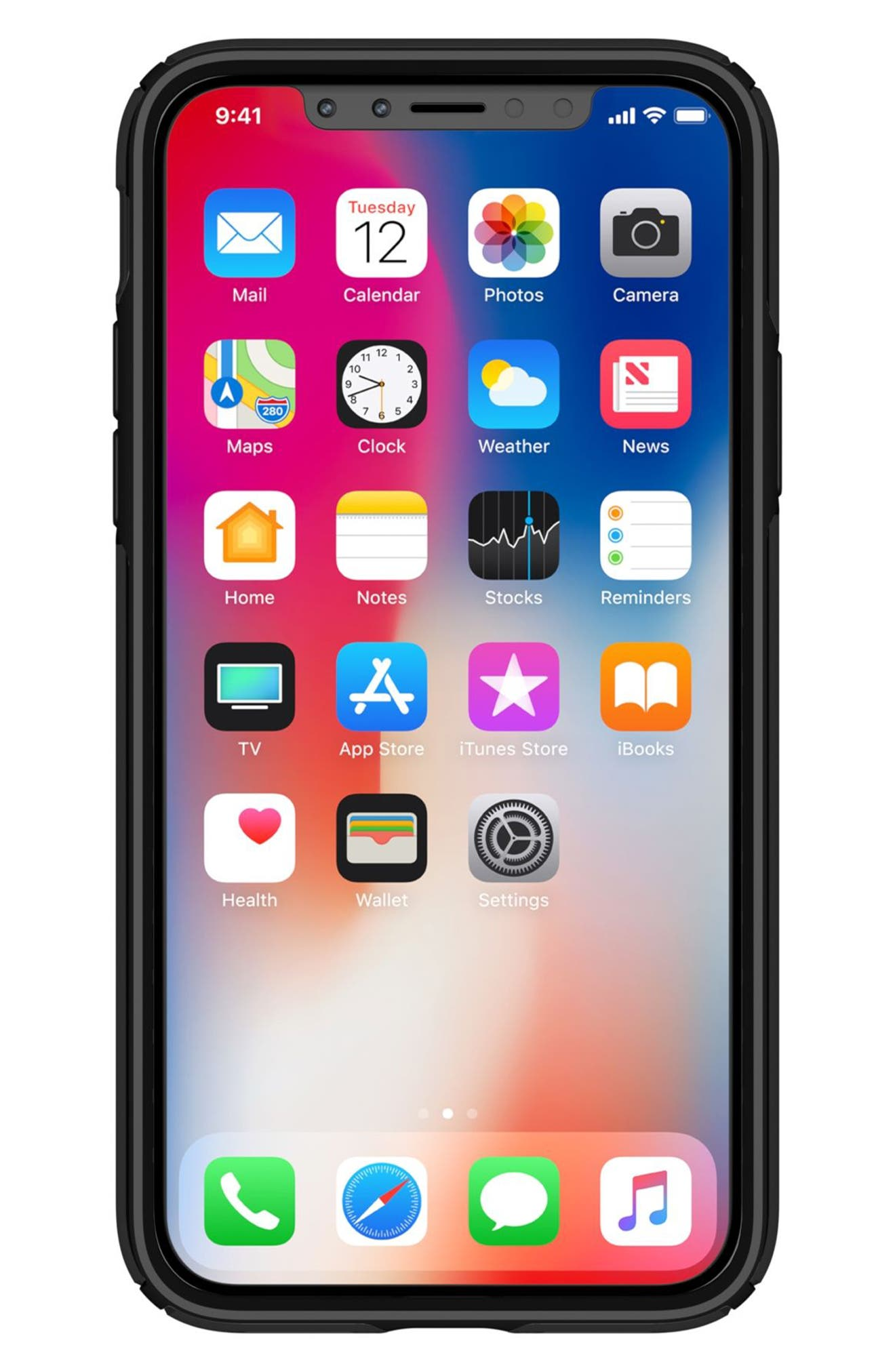Transparent iPhone X Case,                             Alternate thumbnail 8, color,                             Clear/ Black