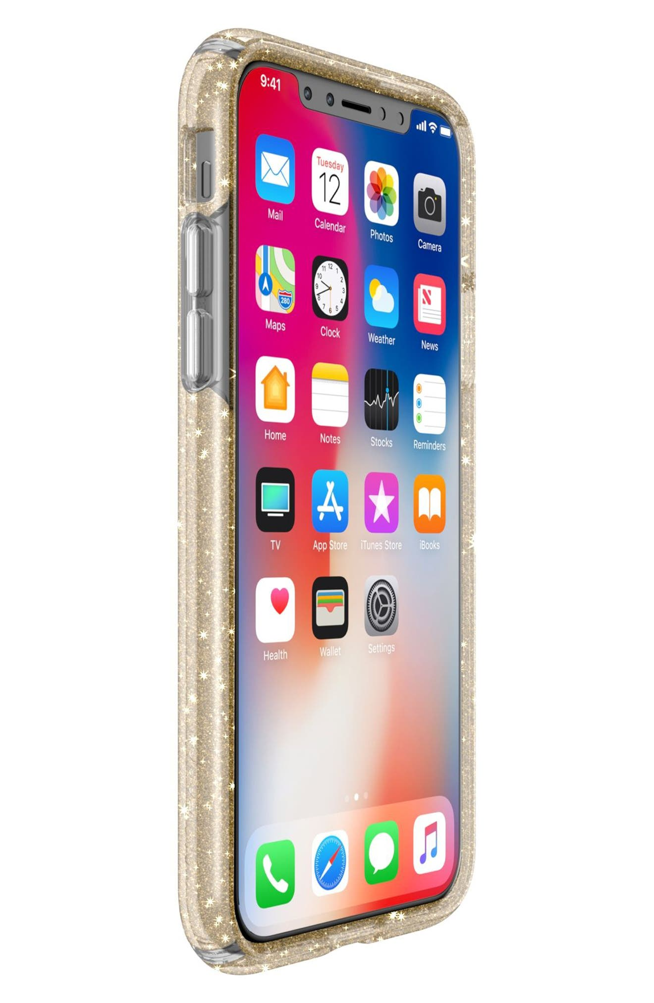 Transparent iPhone X Case,                             Alternate thumbnail 6, color,                             Clear With Gold Glitter/ Clear