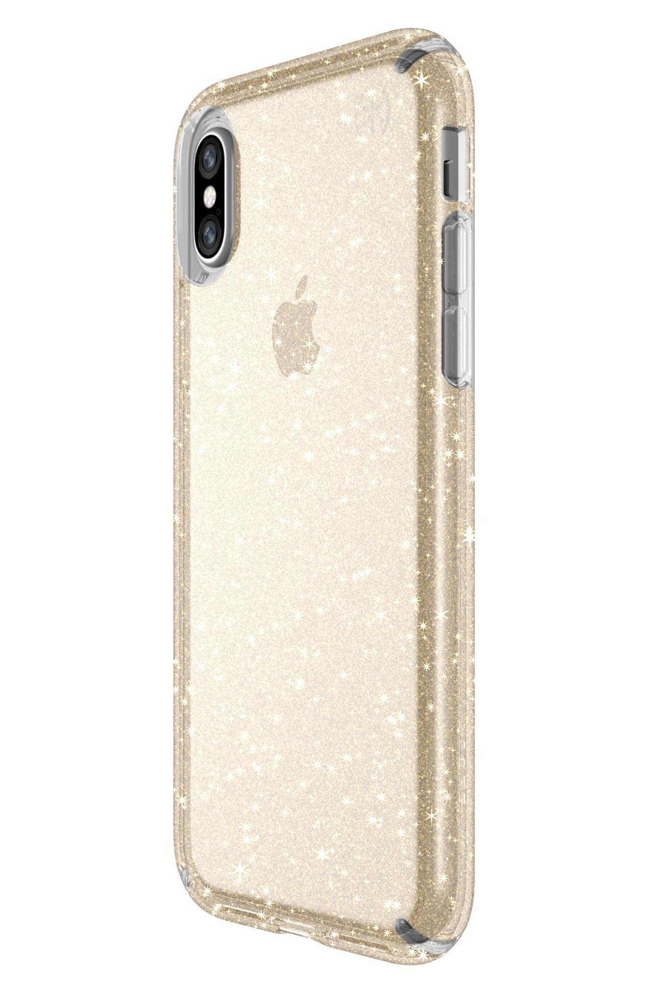 Transparent iPhone X Case,                             Alternate thumbnail 3, color,                             Clear With Gold Glitter/ Clear