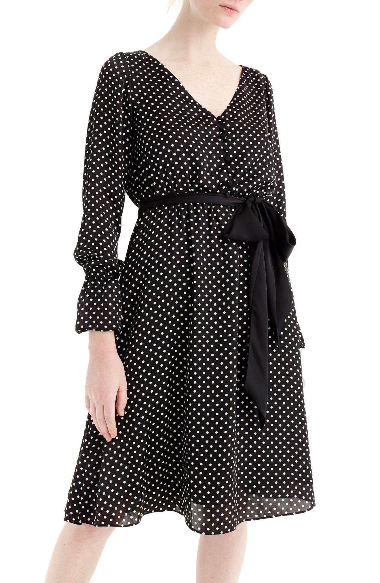 Main Image - J.Crew Long Sleeve Polka Dot Dress