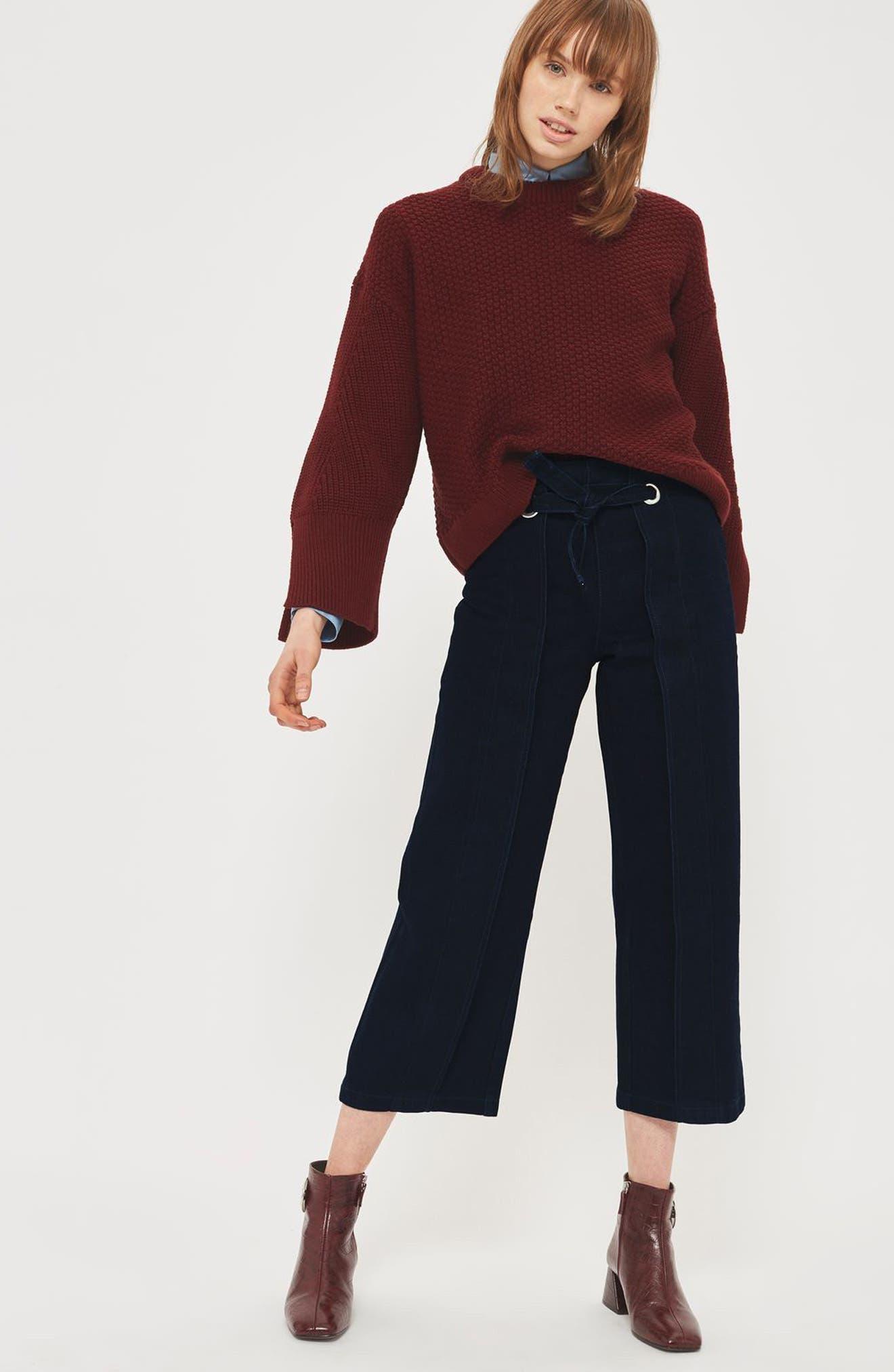 Tie Front Wide Leg Crop Jeans,                             Alternate thumbnail 4, color,                             Mid Denim
