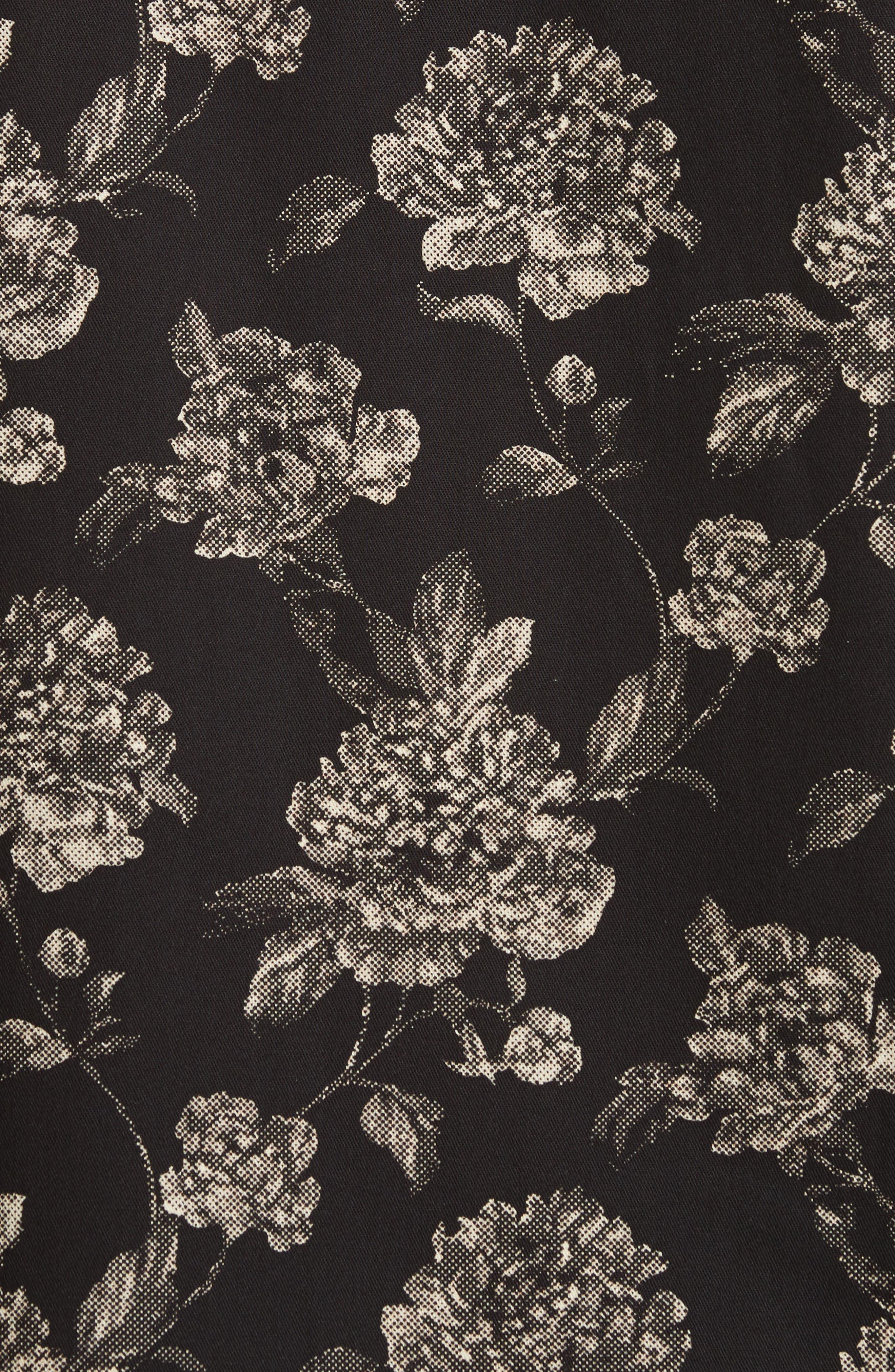 Floral Print Shirt,                             Alternate thumbnail 5, color,                             Black