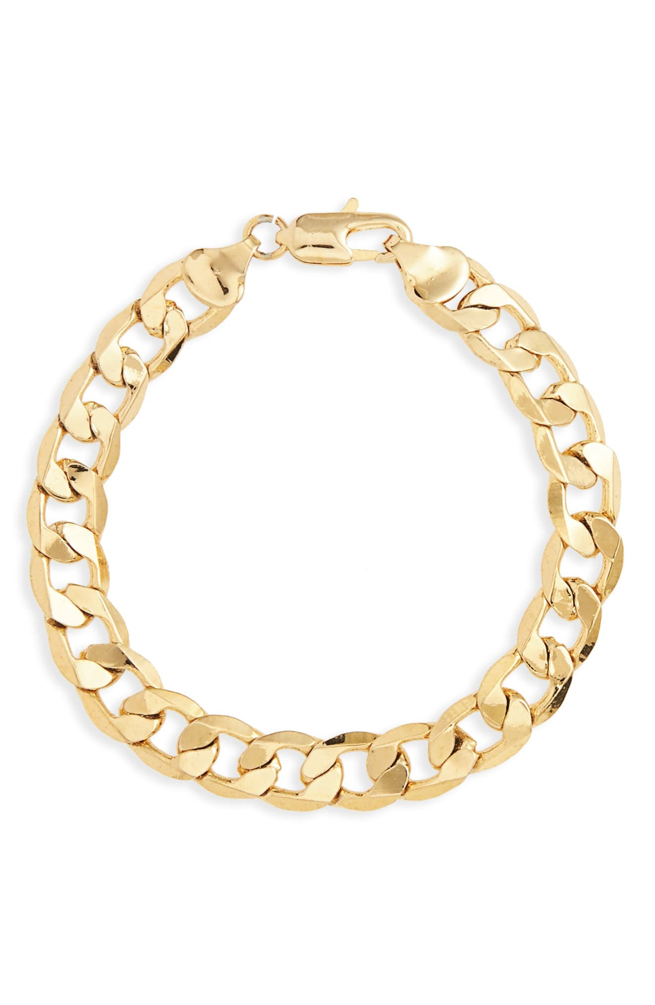 Chain Link Bracelet,                         Main,                         color, Gold