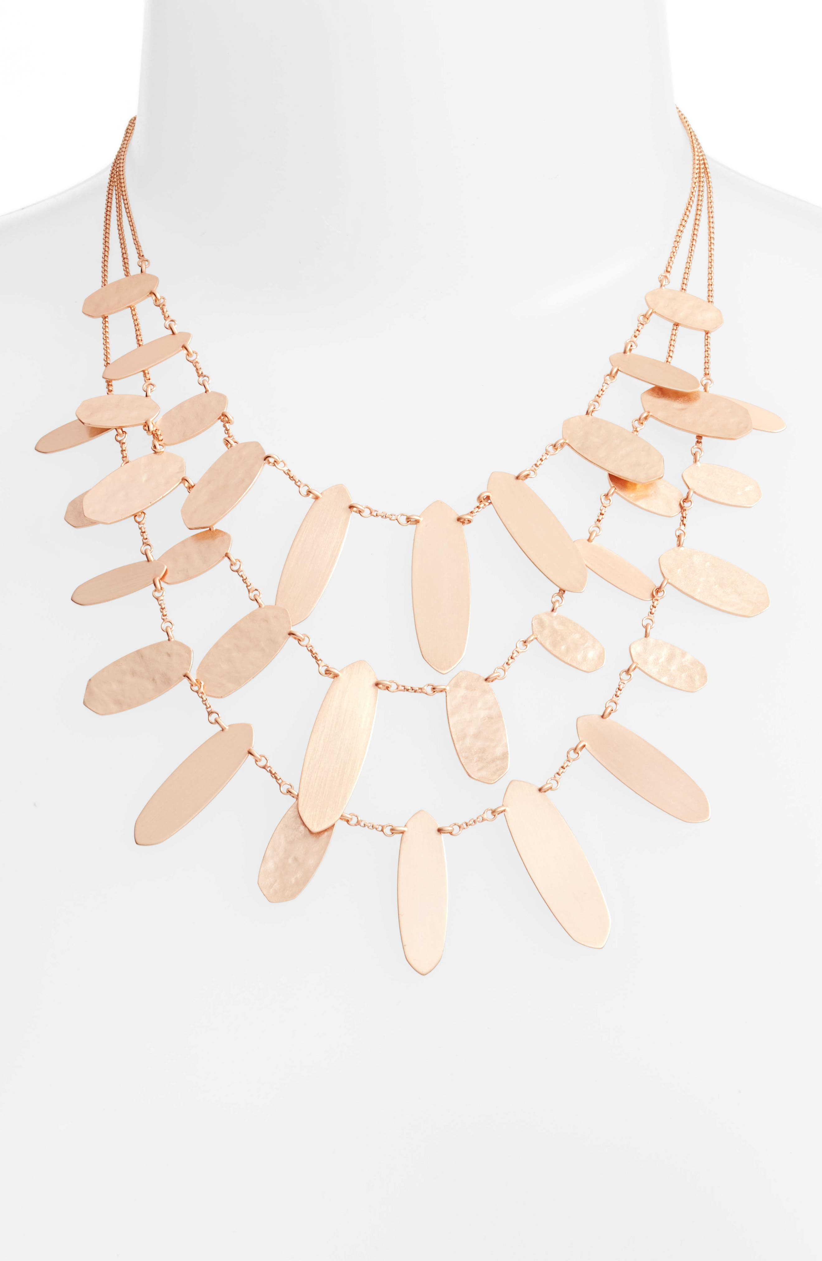 Nettie Multistrand Necklace,                         Main,                         color, Rose Gold