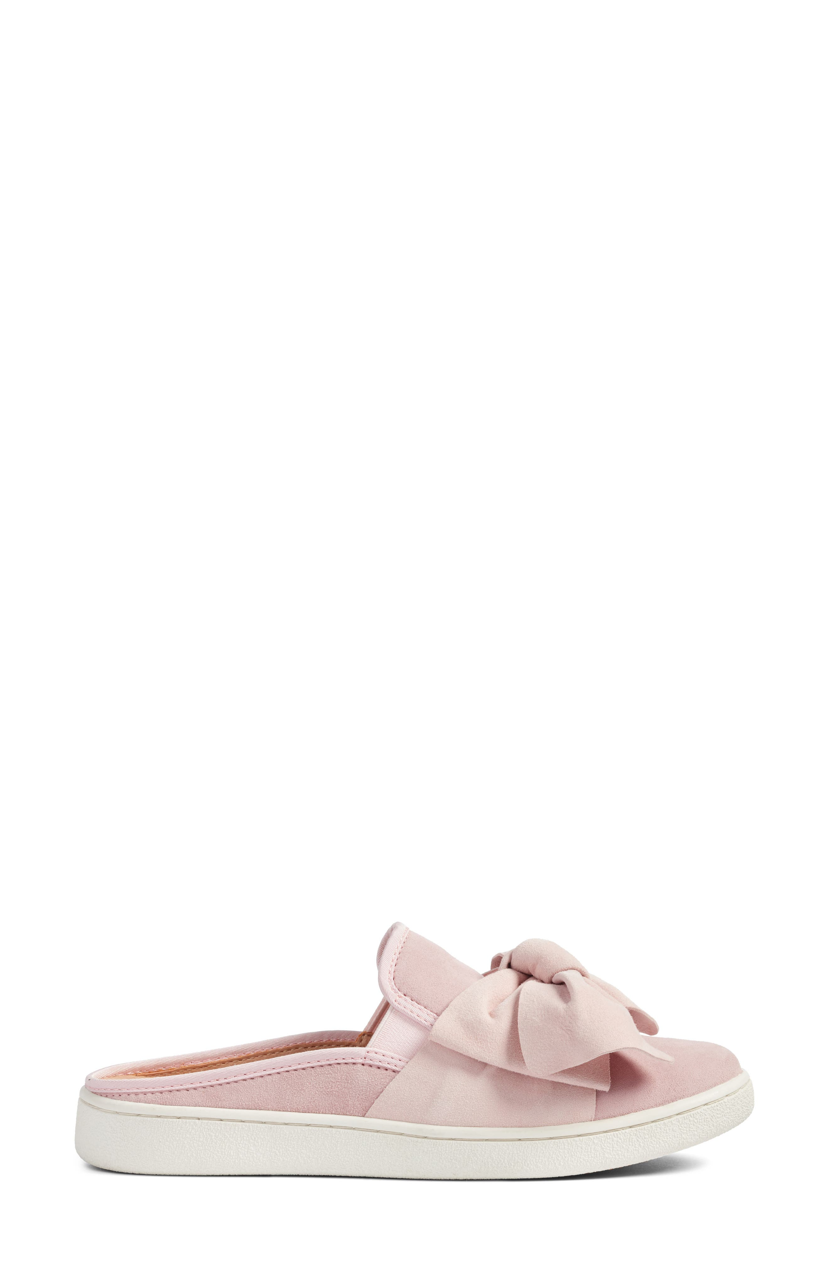 Luci Bow Sneaker Mule,                             Alternate thumbnail 3, color,                             Seashell Pink Suede