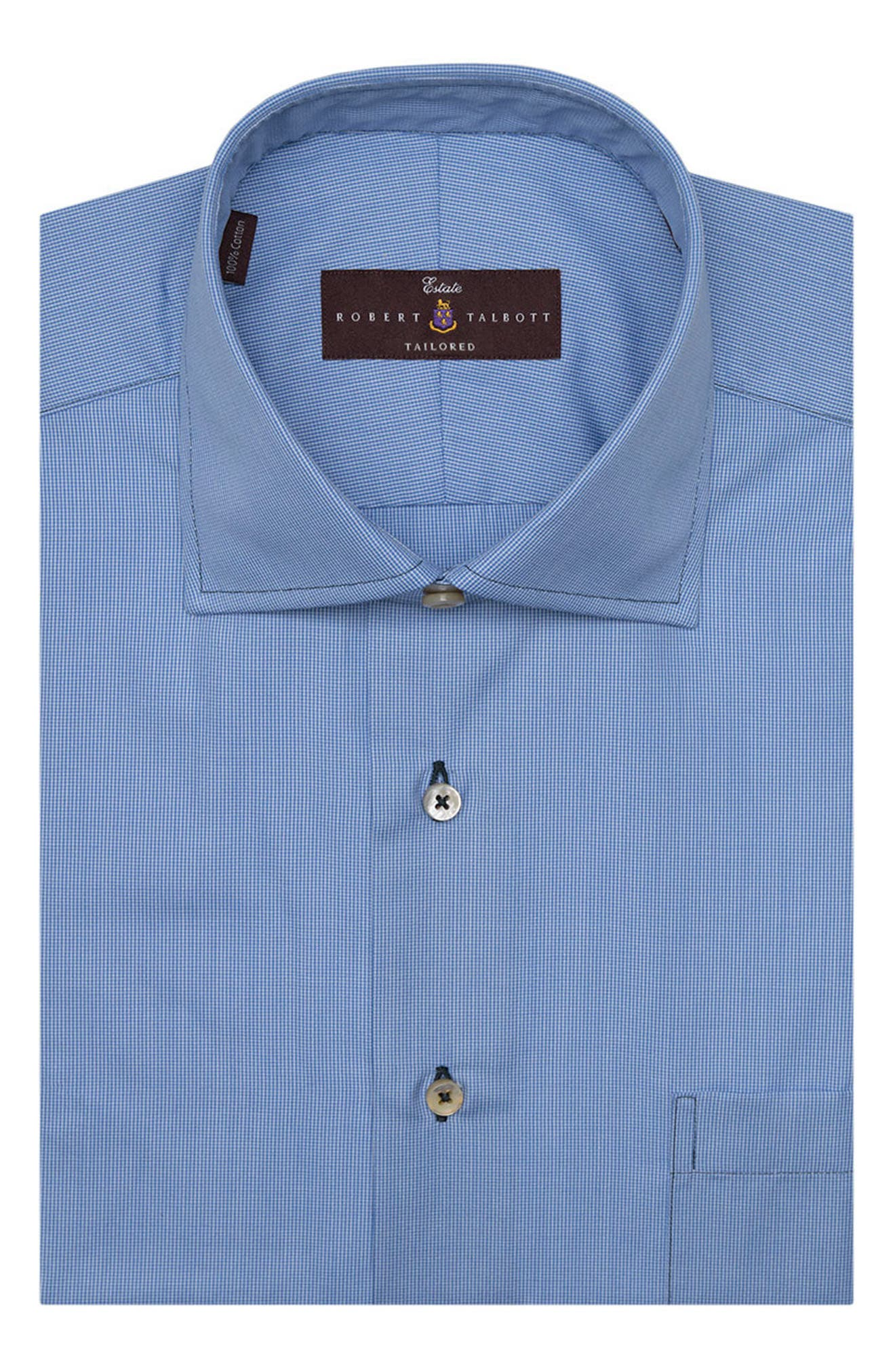 Tailored Fit Check Dress Shirt,                         Main,                         color, Ocean