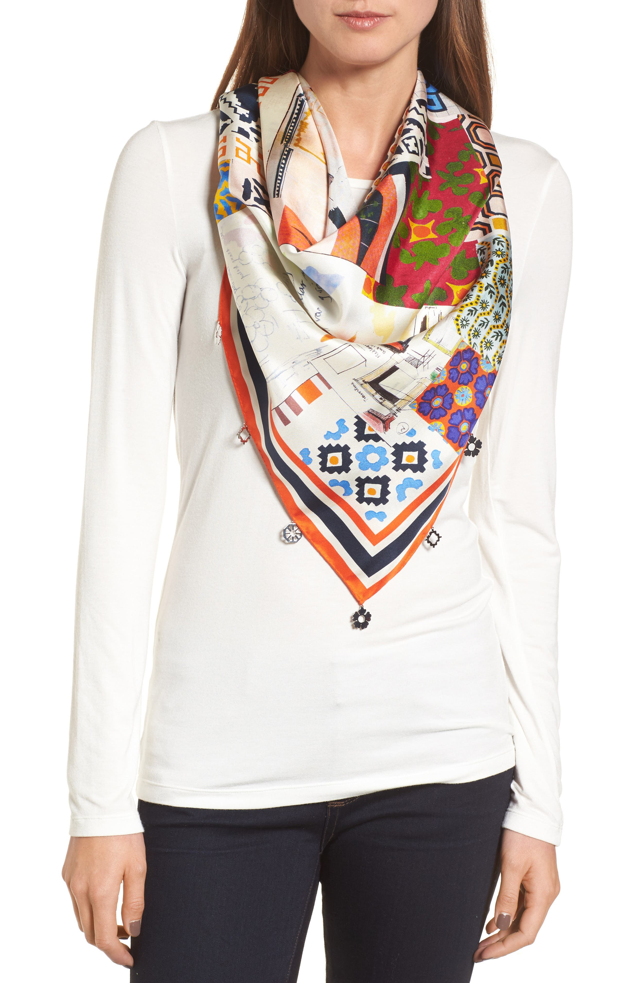 Main Image - Tory Burch Scrapbook Fringed Silk Scarf