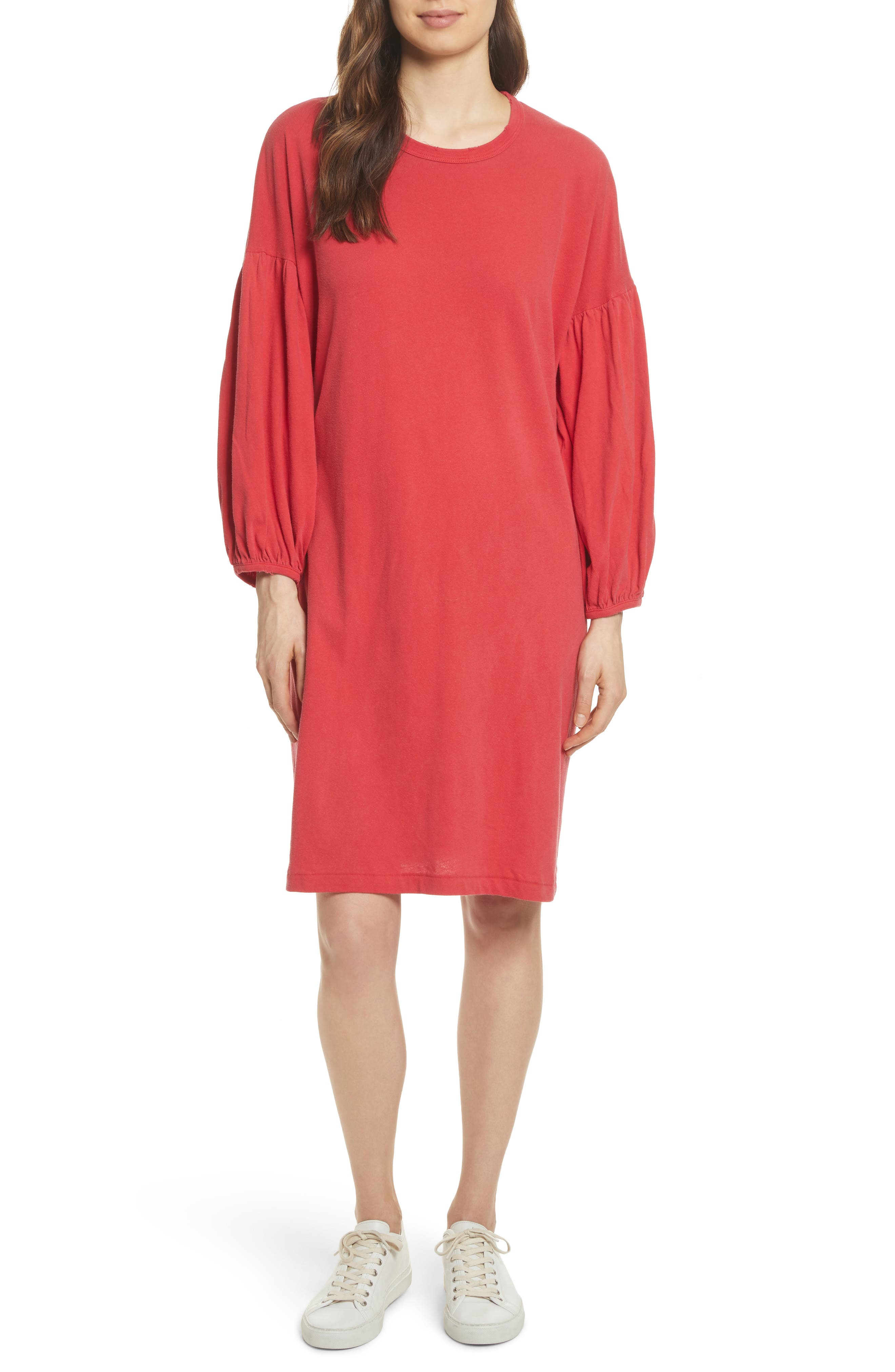 The Bubble Sleeve Dress,                         Main,                         color, Cherry Red