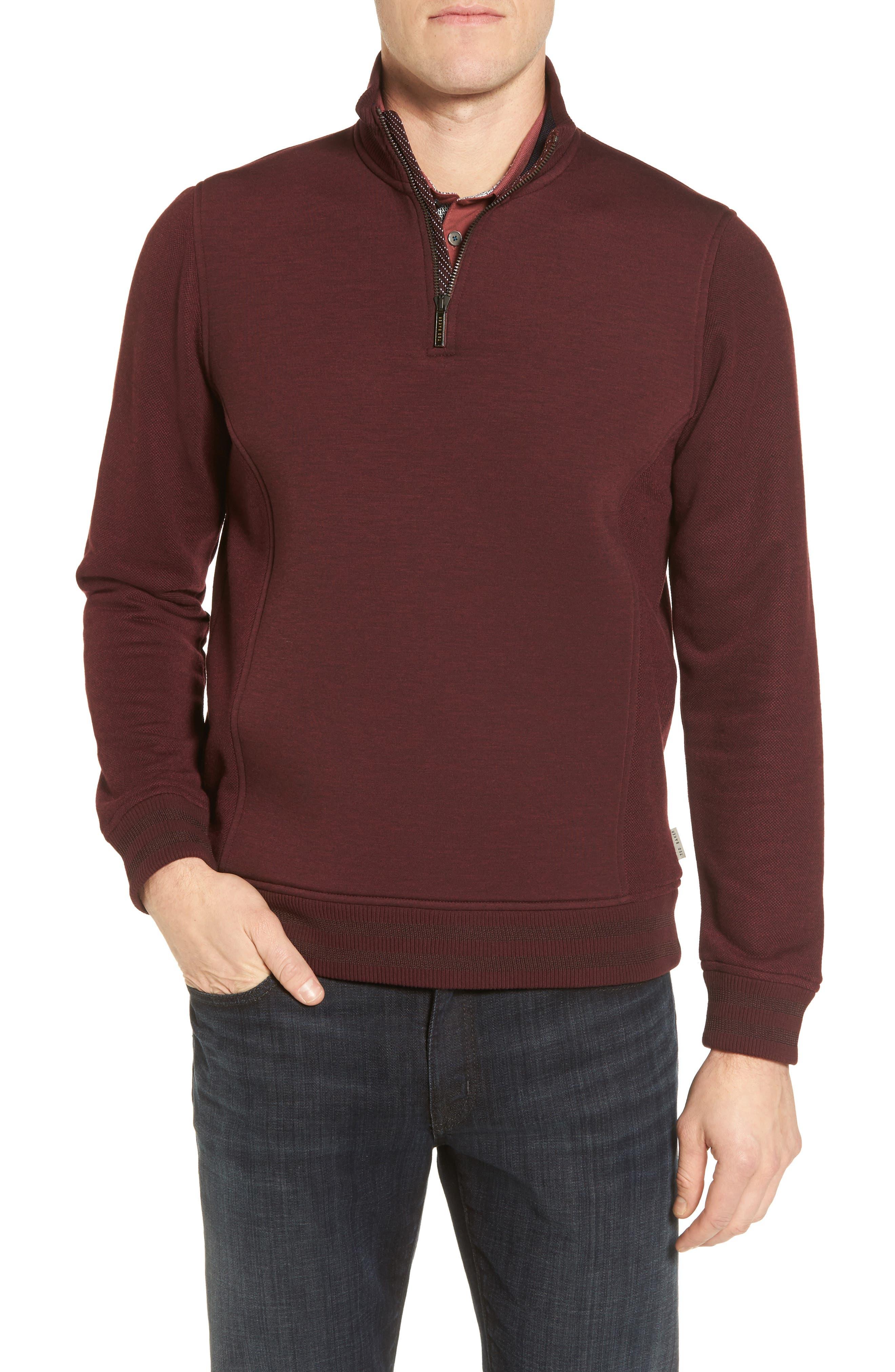 Ted Baker London Uthink Trim Fit Quarter Zip Pullover