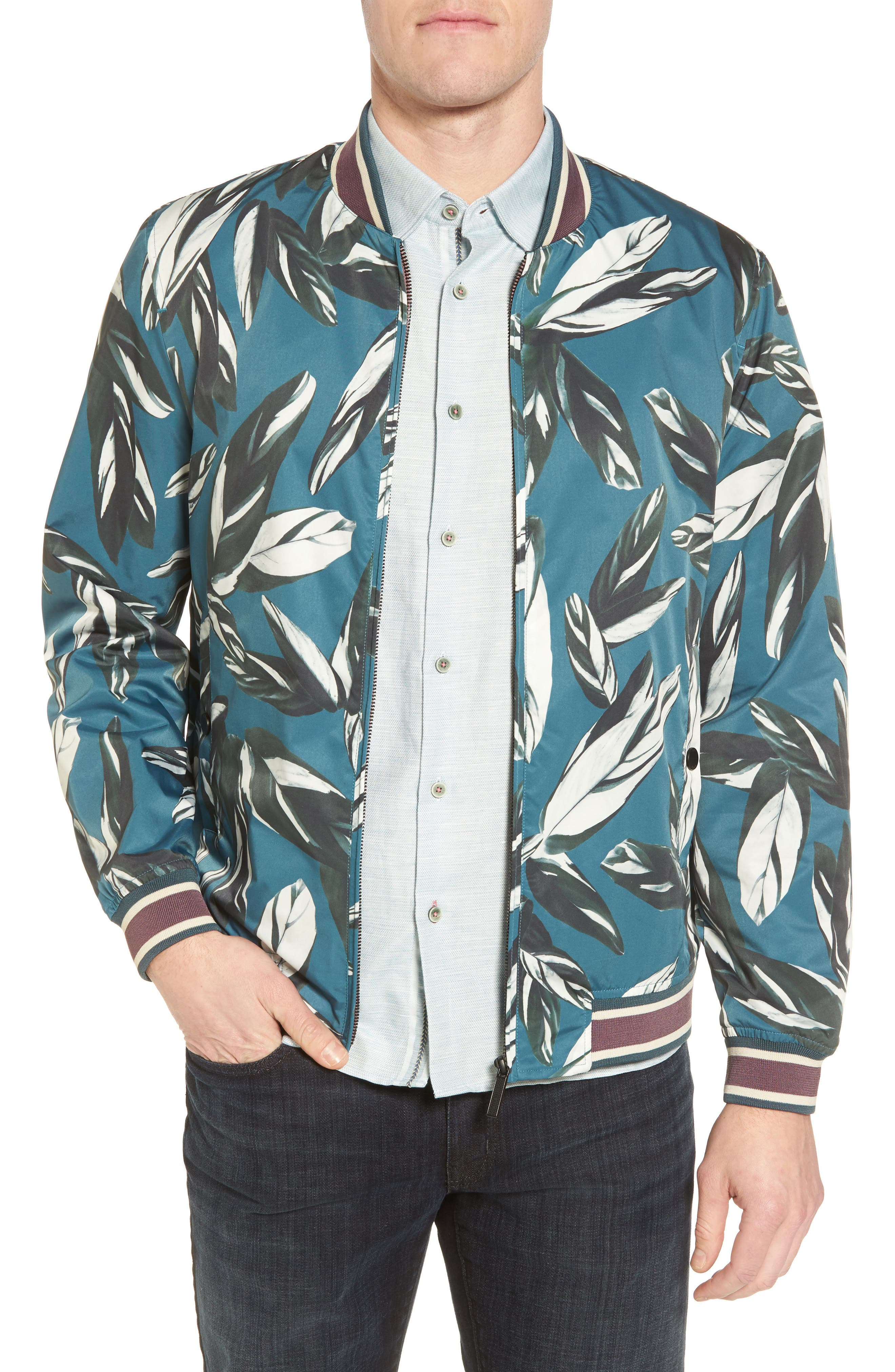 Toth Bomber Jacket,                         Main,                         color, Teal