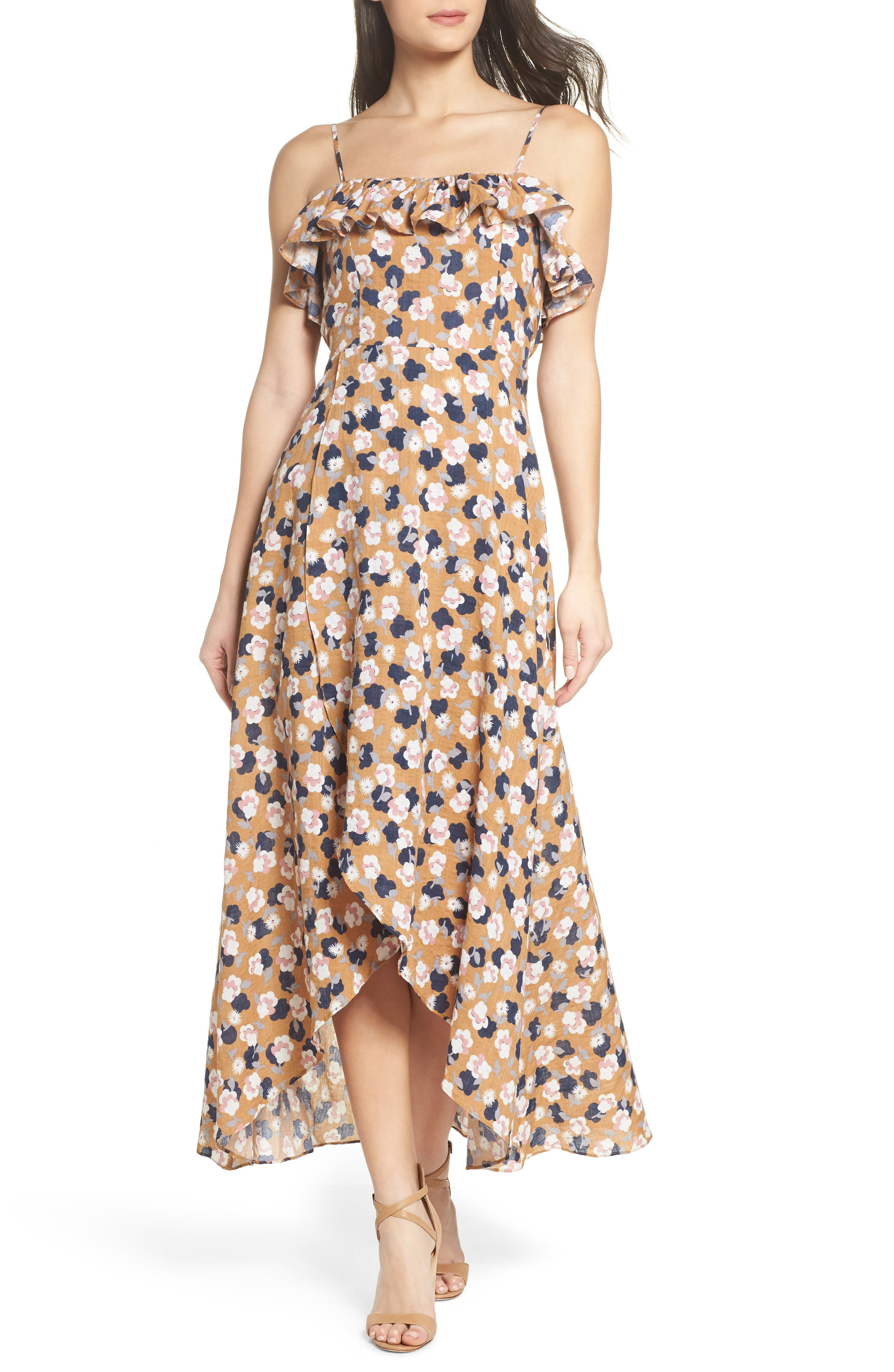 Floral Maxi Dress,                         Main,                         color, Mustard