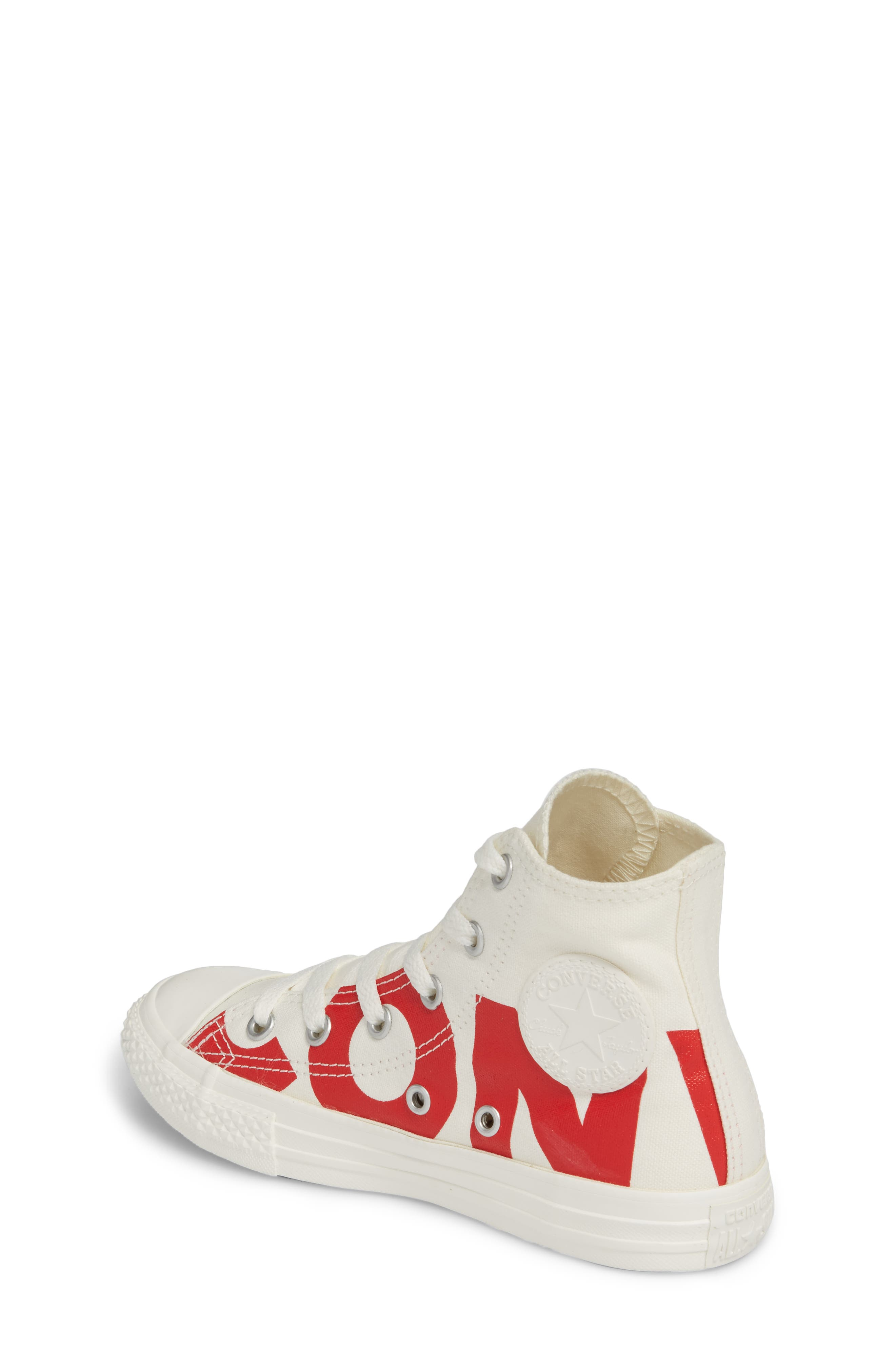 Chuck Taylor<sup>®</sup> All Star<sup>®</sup> Wordmark Hi Sneaker,                             Alternate thumbnail 2, color,                             Enamel Red