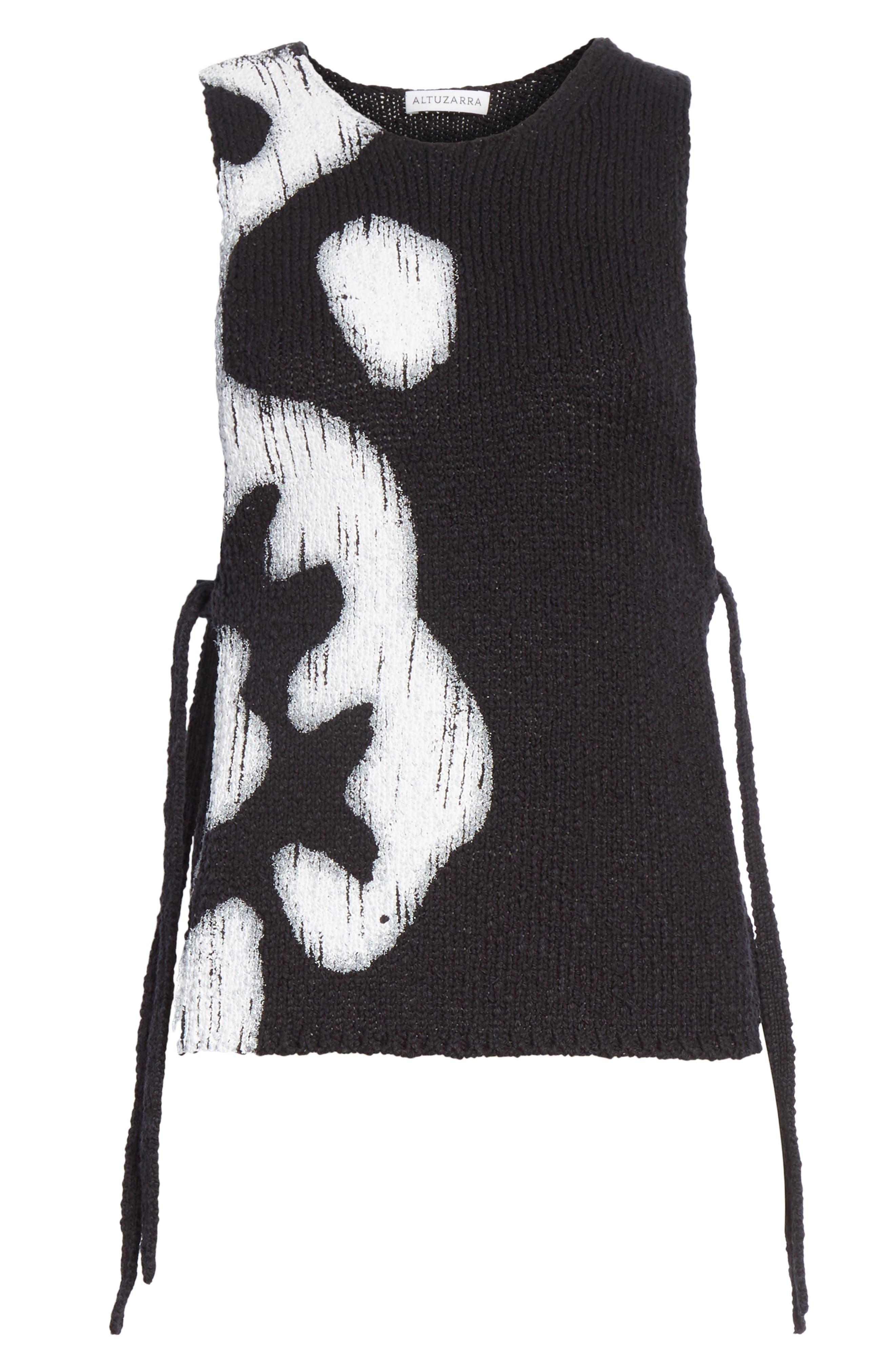 Painted Side Tie Tank Top,                             Alternate thumbnail 7, color,                             Black