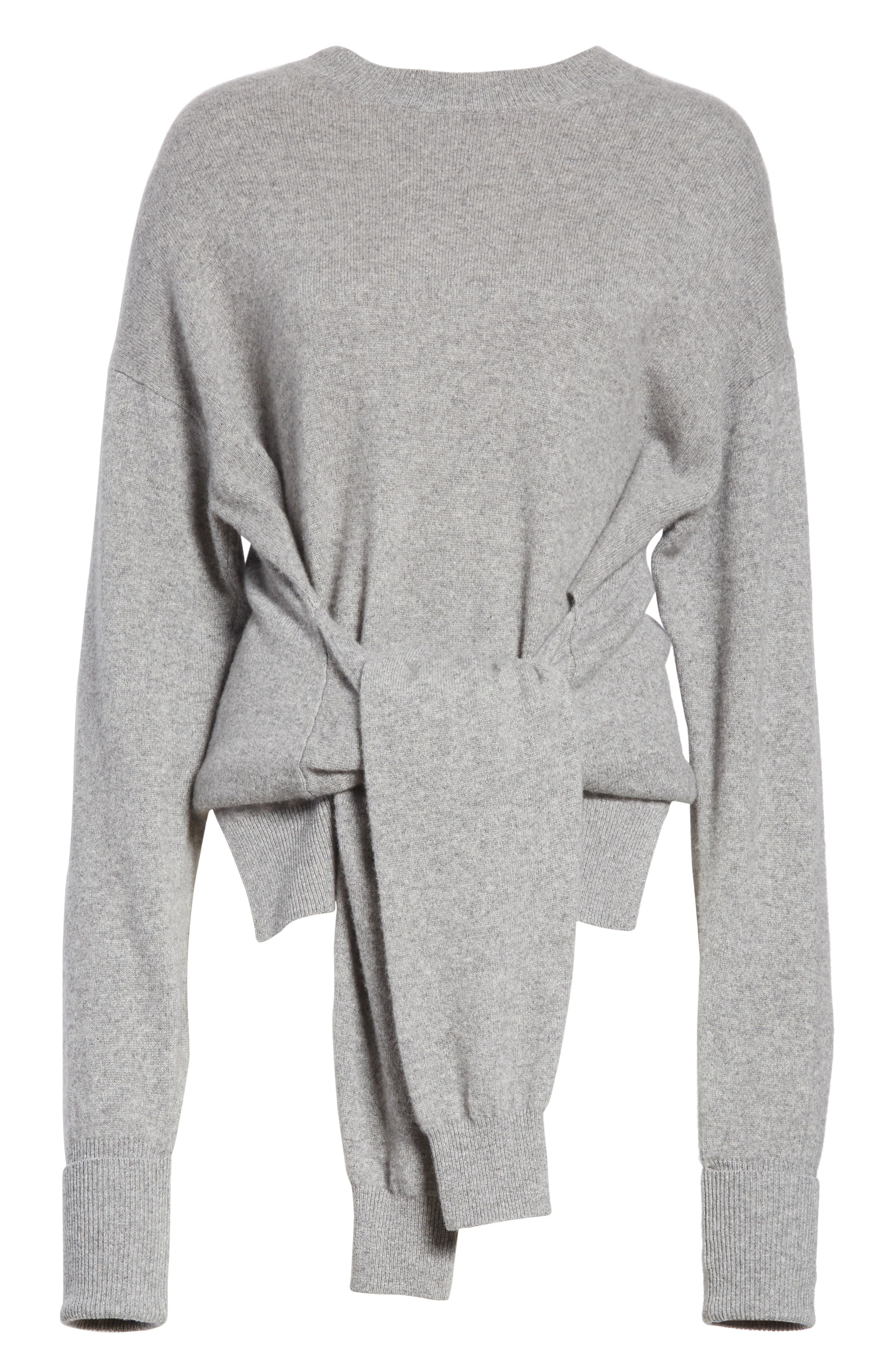 Inverted Tie Waist Wool & Cashmere Blend Sweater,                             Alternate thumbnail 6, color,                             Heather Grey