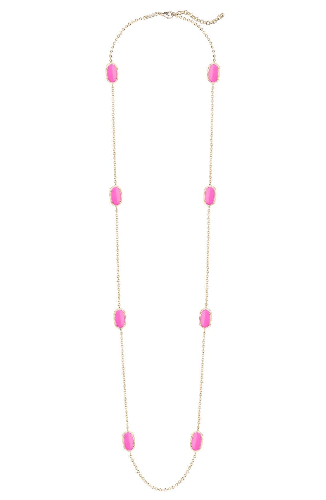 'Kelsie' Station Necklace,                         Main,                         color, Magenta/ Gold