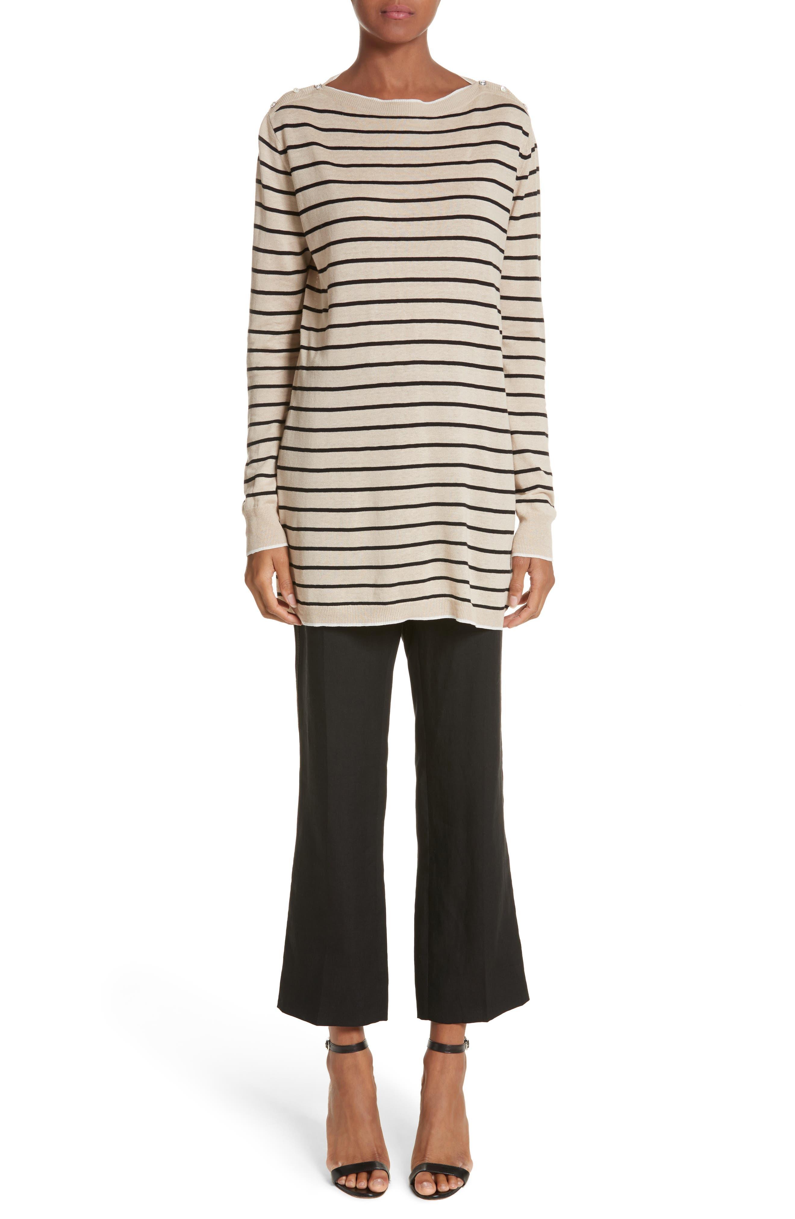 Luigia Linen Crop Flare Pants,                             Alternate thumbnail 7, color,                             Black