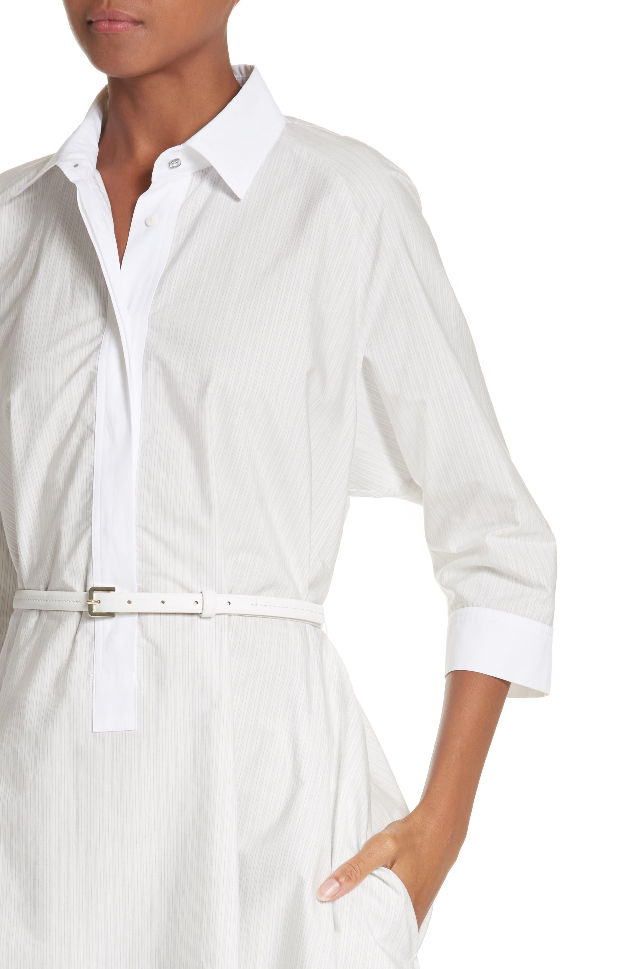 Parola Cotton Shirtdress,                             Alternate thumbnail 4, color,                             Light Grey