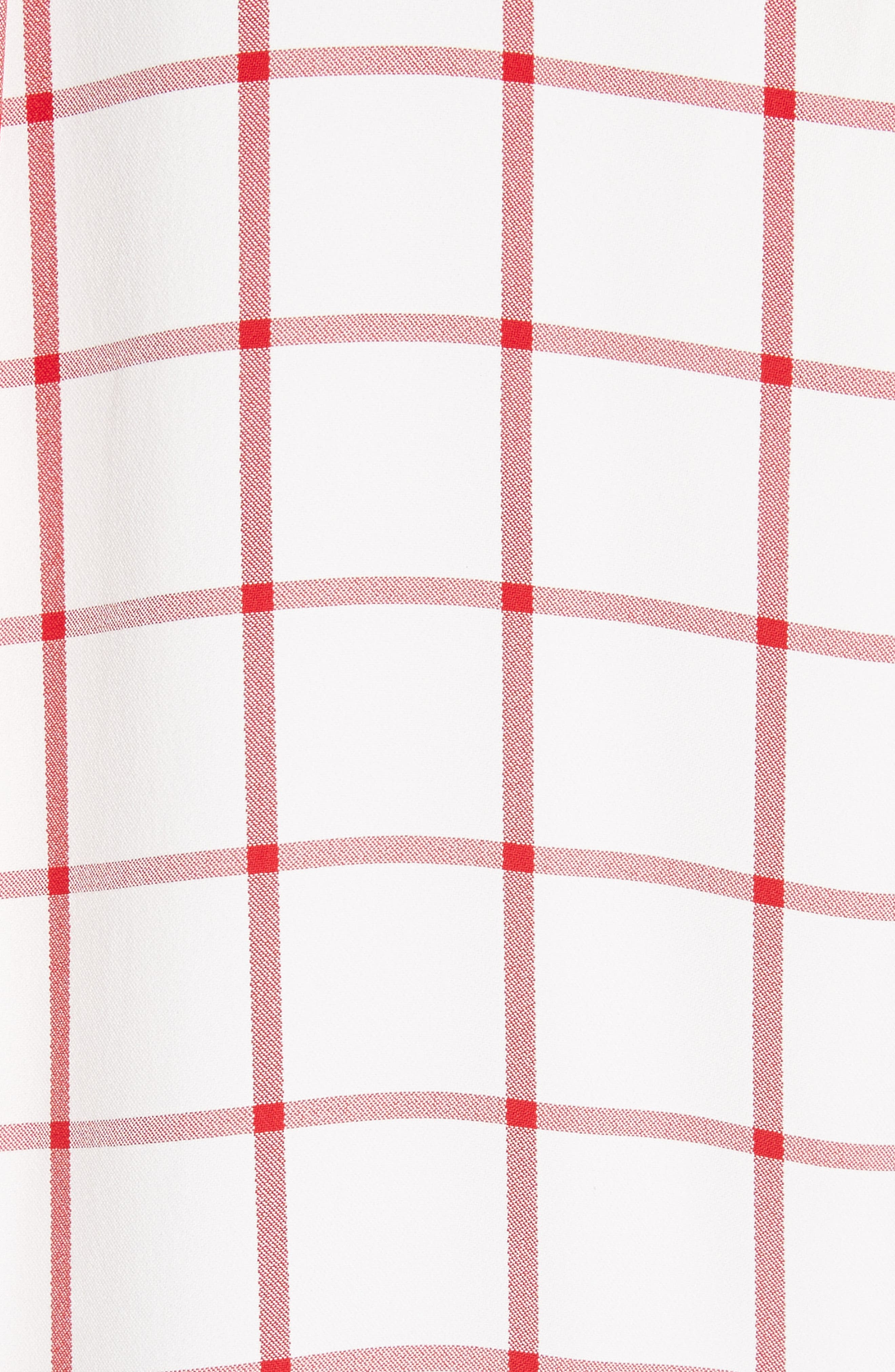 Windowpane Plaid Snap Sleeve Shirt,                             Alternate thumbnail 5, color,                             Ivory/ Red