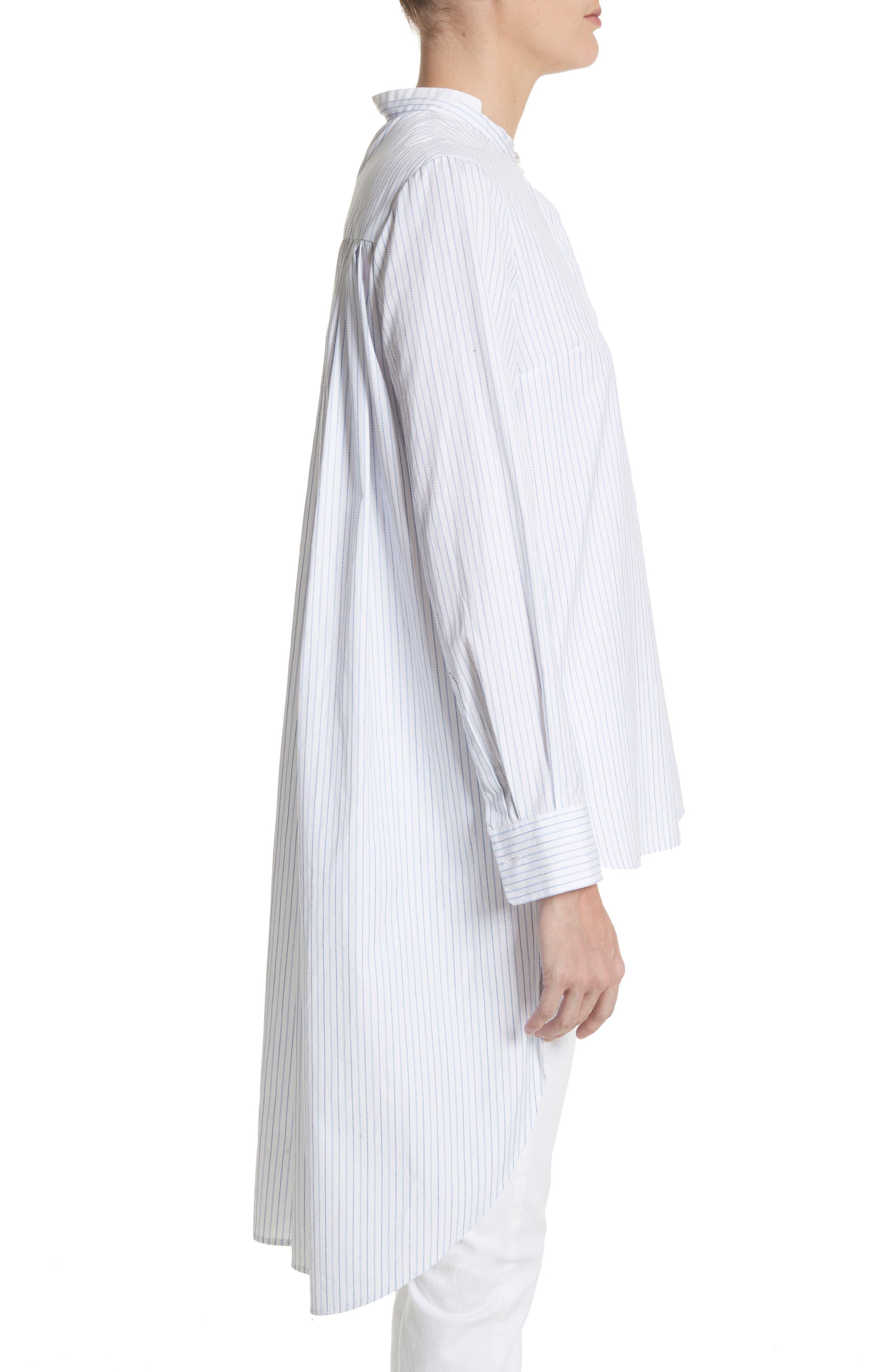 High/Low Stripe Cotton Poplin Shirt,                             Alternate thumbnail 3, color,                             White/ Blue