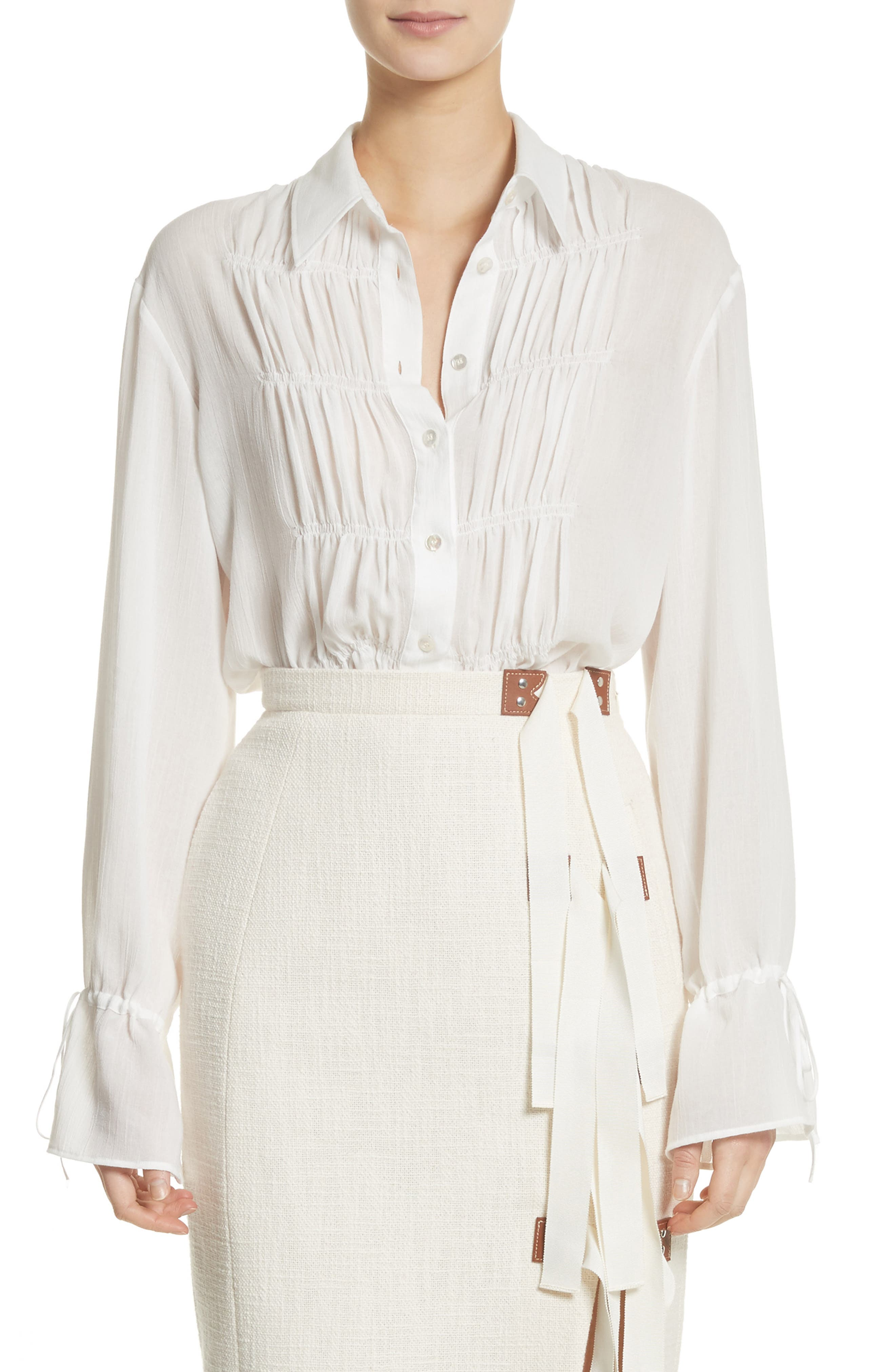 Ruched Detail Blouse,                             Main thumbnail 1, color,                             Optic White