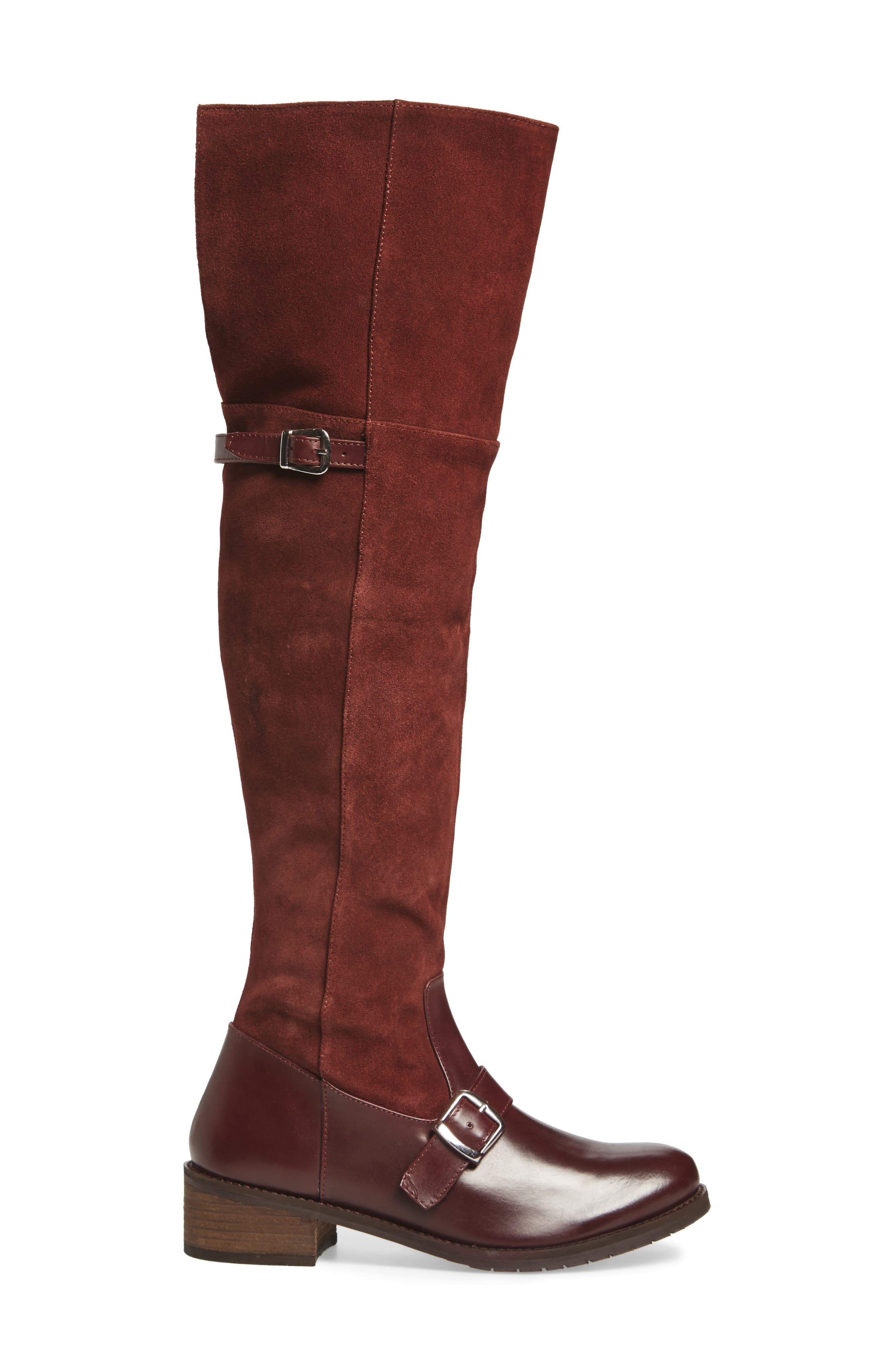 Lola Over the Knee Boot,                             Alternate thumbnail 3, color,                             Wine Suede