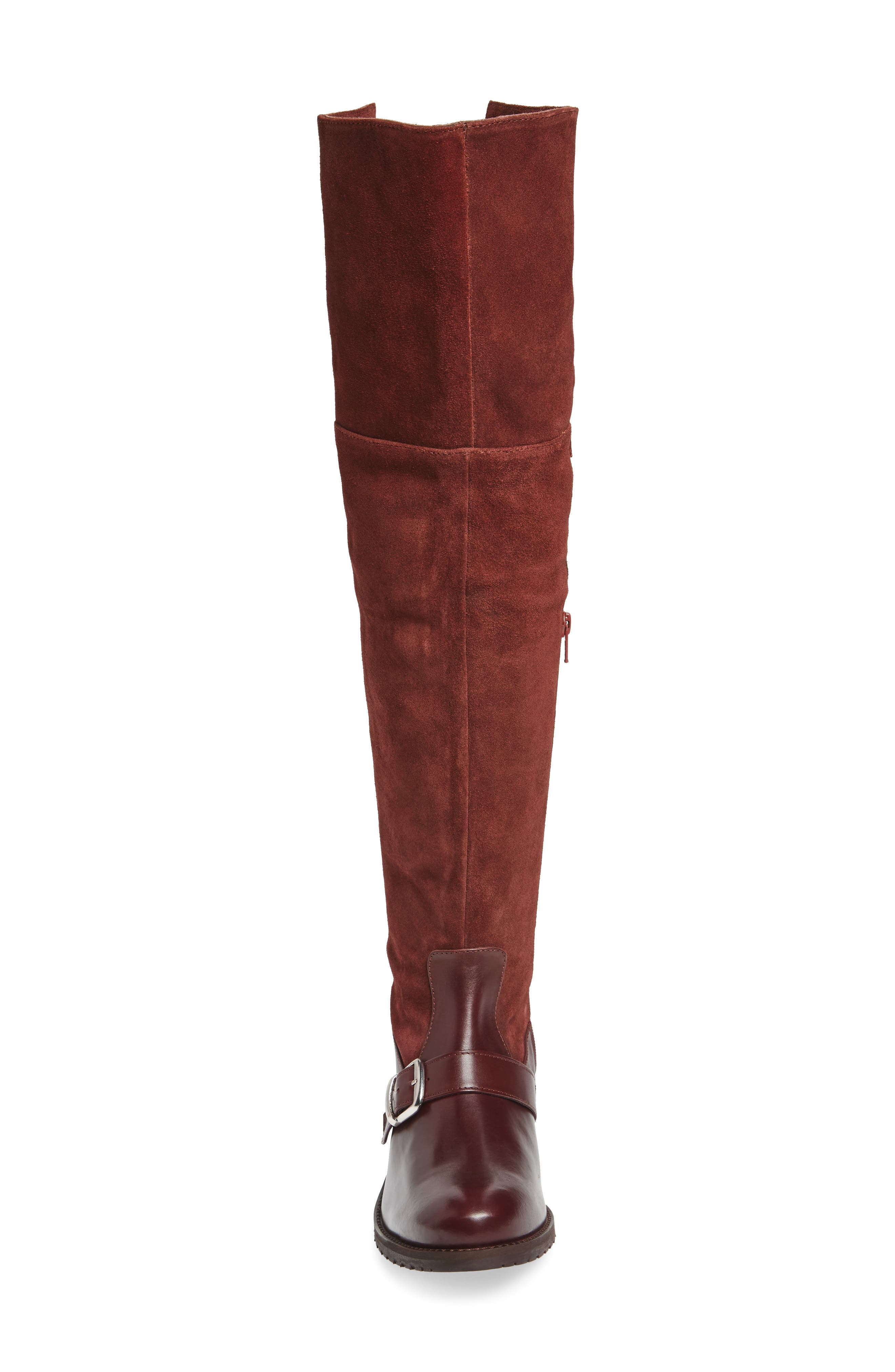 Lola Over the Knee Boot,                             Alternate thumbnail 4, color,                             Wine Suede