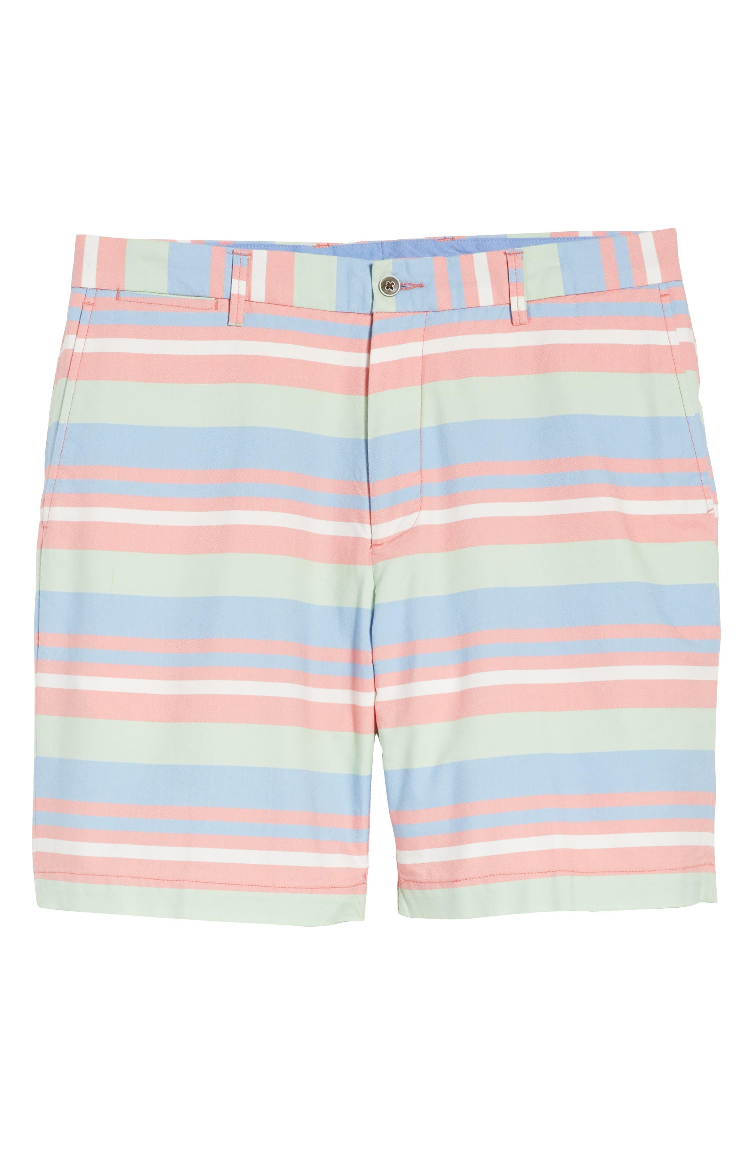 Stripe Flat Front Shorts,                             Alternate thumbnail 6, color,                             Tahoe Blue