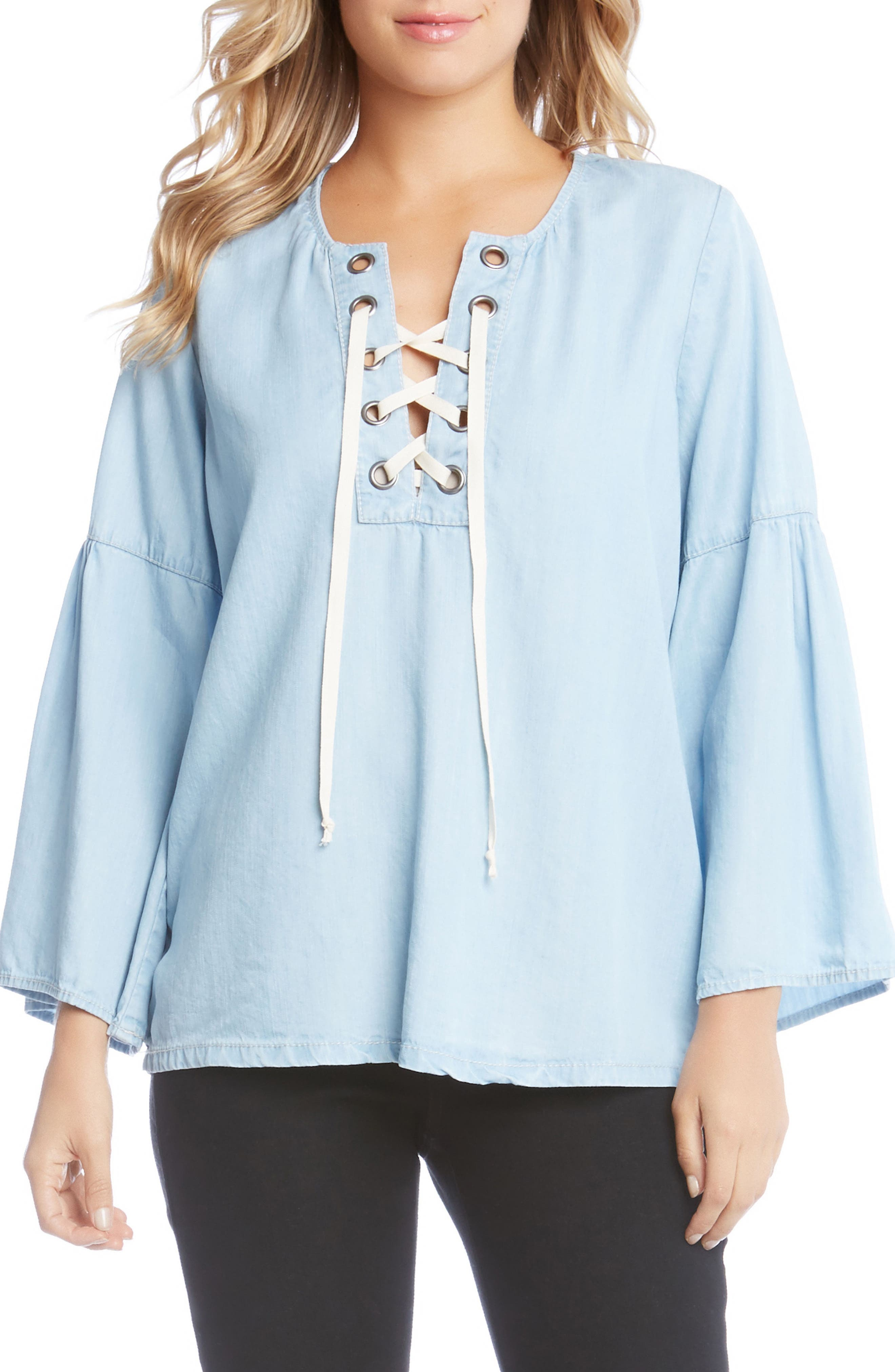Lace-Up Bell Sleeve Top,                         Main,                         color, Chambray