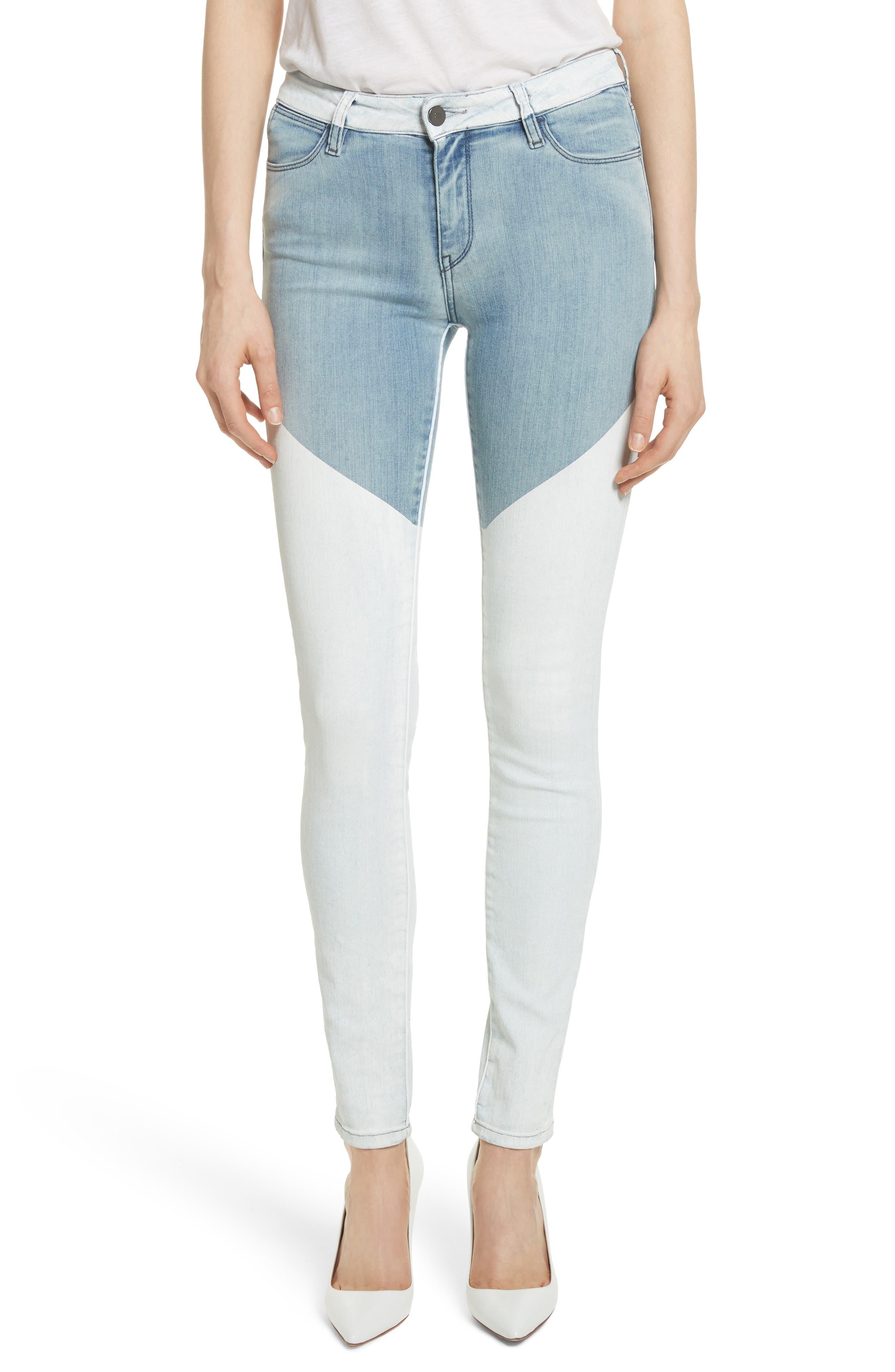Main Image - BROCKENBOW Emma Coated Skinny Jeans (Running Blue)