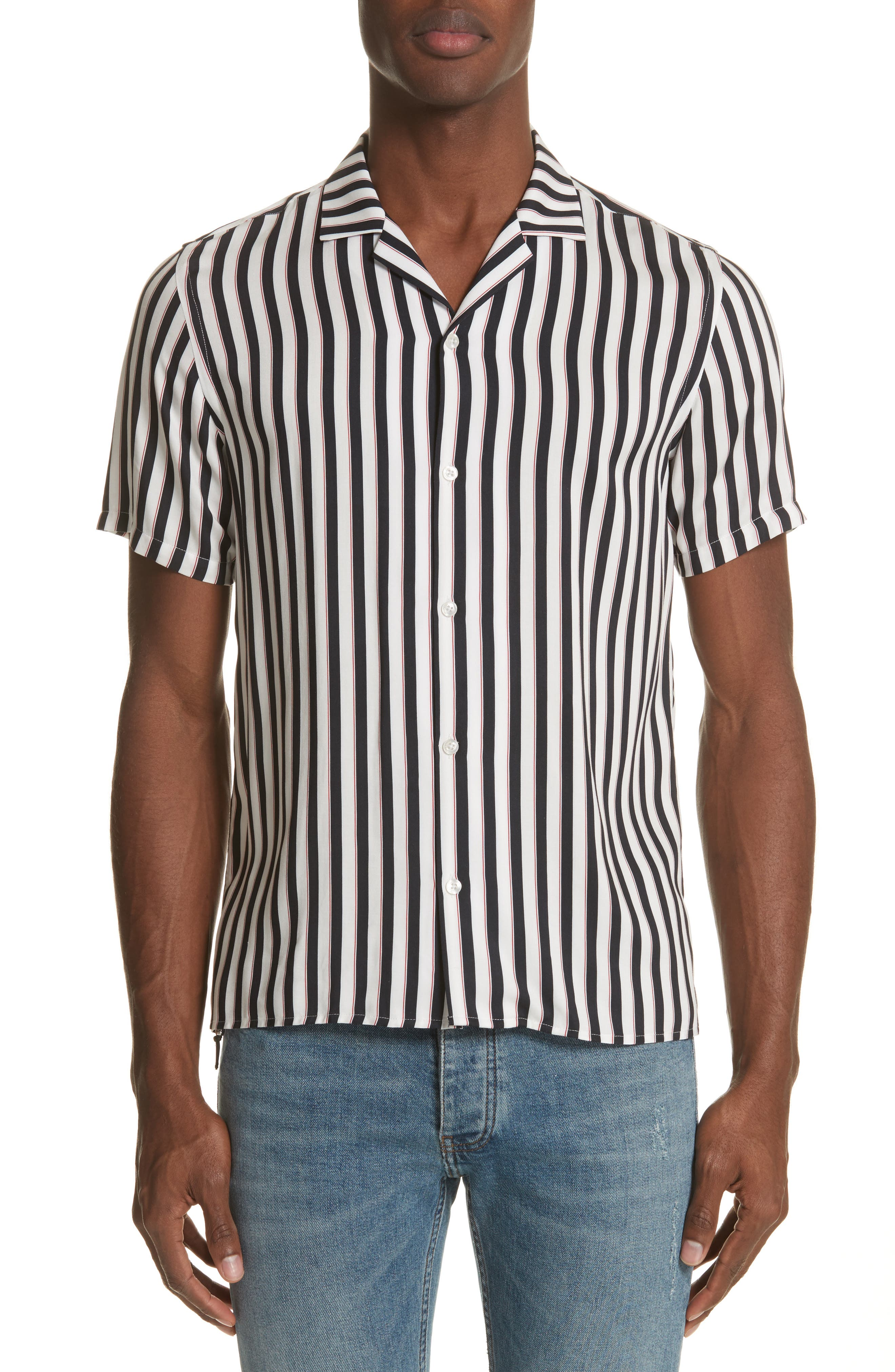Stripe Camp Shirt,                             Main thumbnail 1, color,                             Whi 09