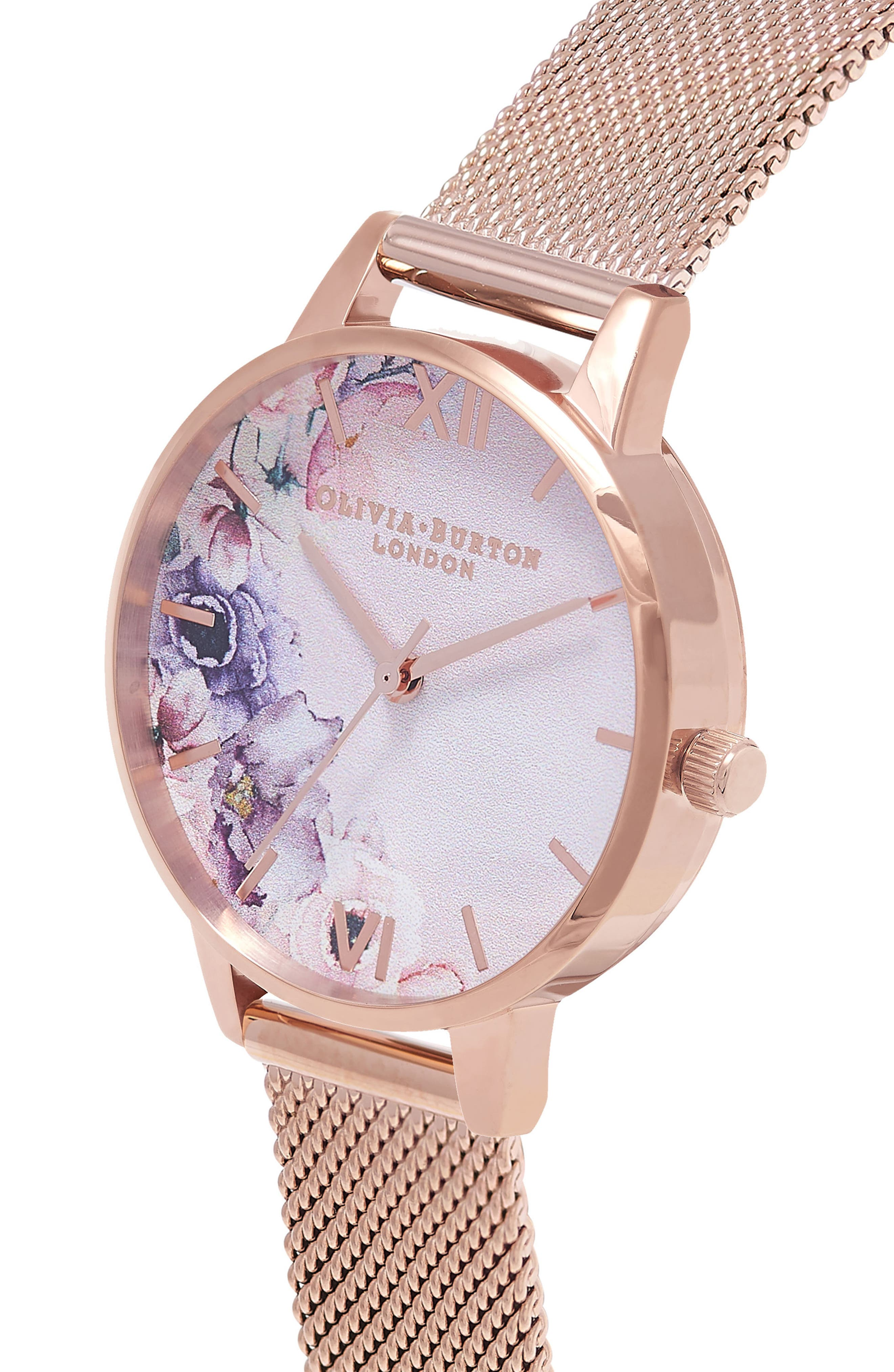 Watercolour Florals Mesh Strap Watch, 30mm,                             Alternate thumbnail 3, color,                             Rose Gold/ White / Rose Gold