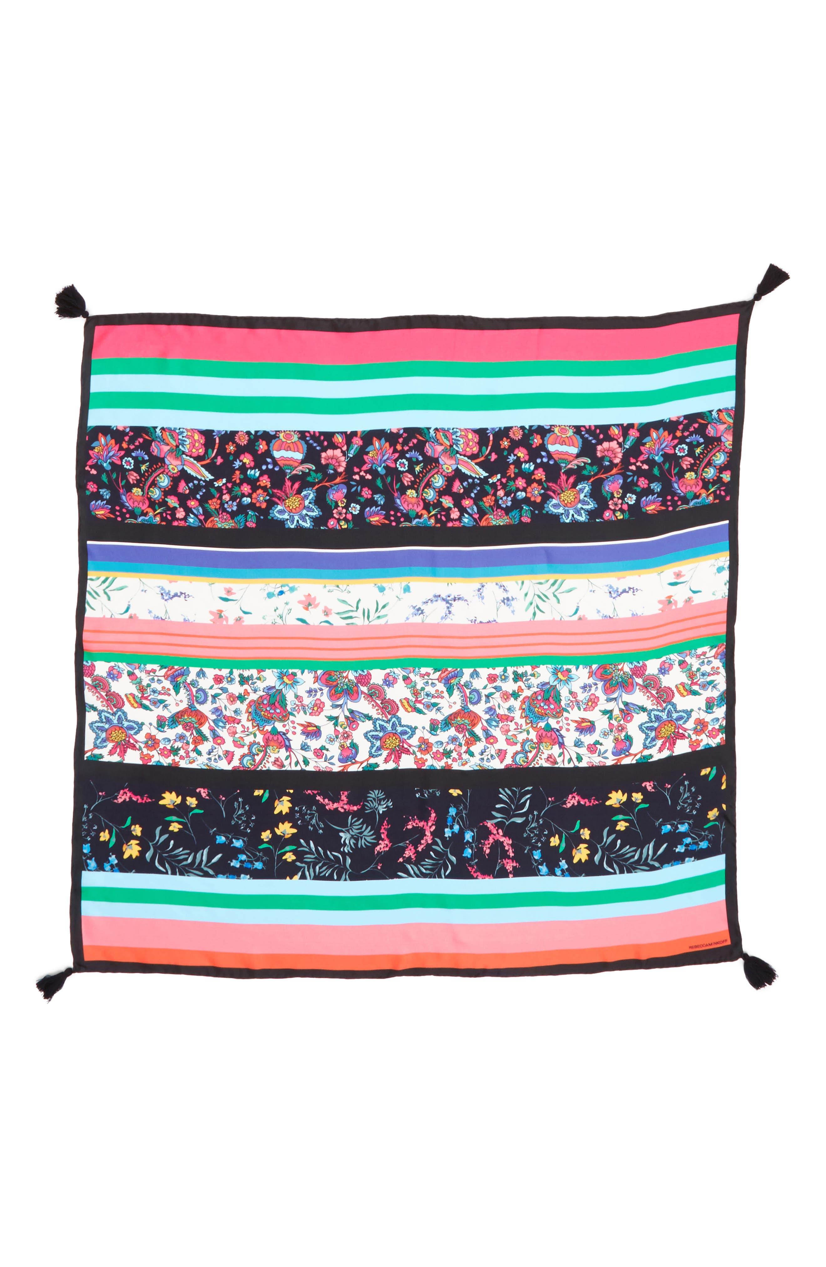 Eccentric Stripe Square Silk Scarf,                             Alternate thumbnail 3, color,                             Black