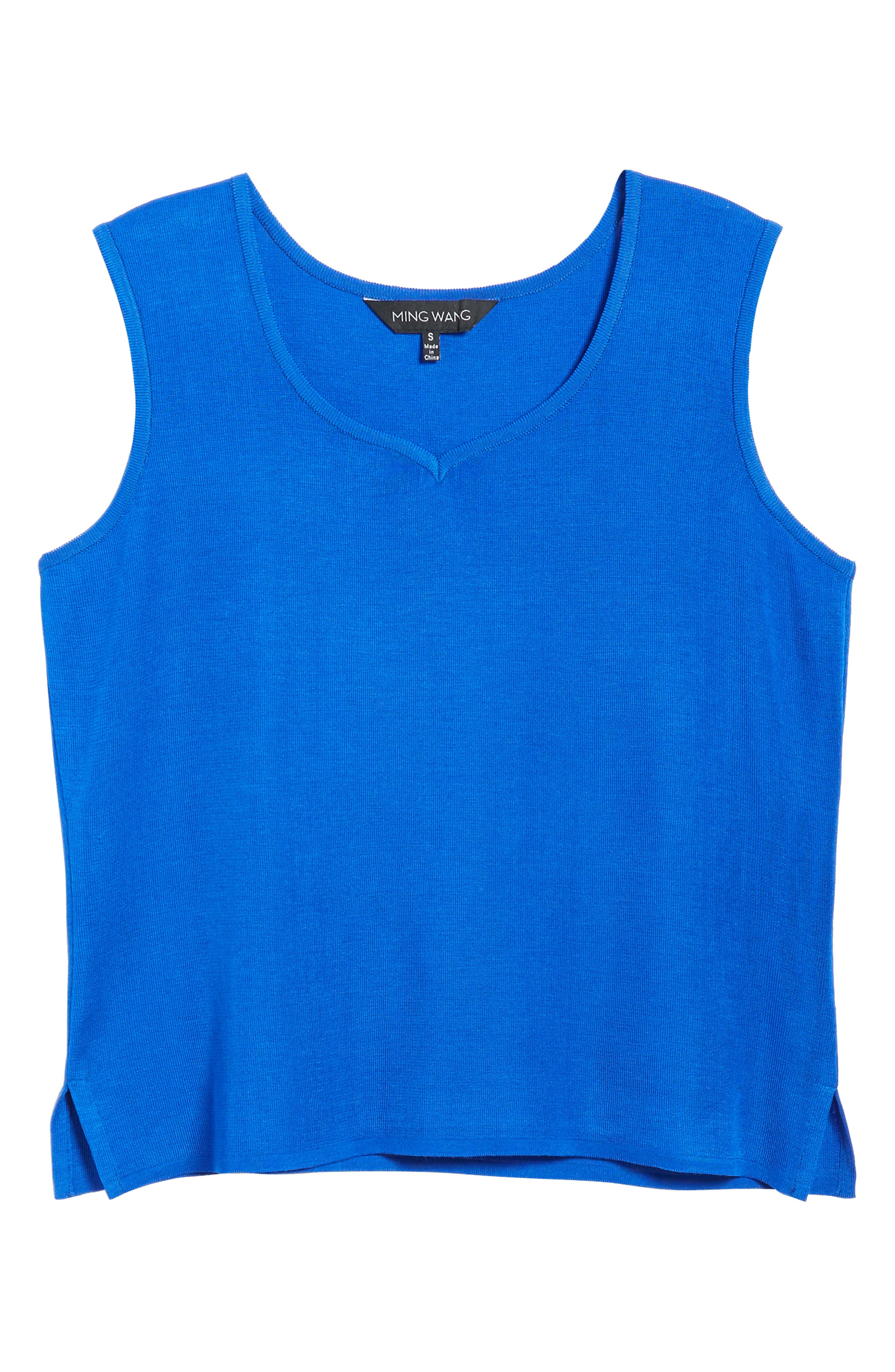 Sweetheart Neck Knit Tank,                             Alternate thumbnail 6, color,                             Patriot Blue