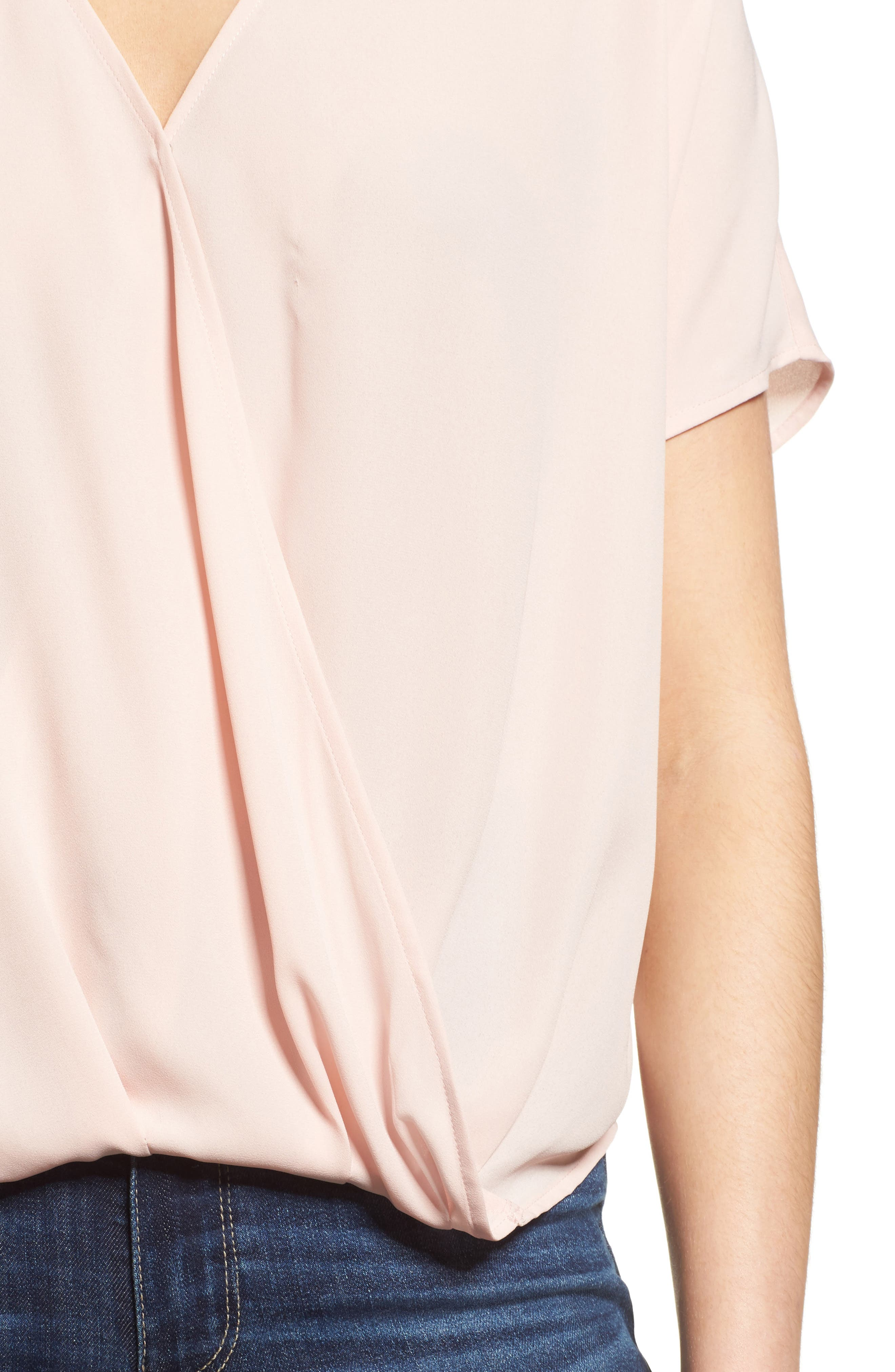 Surplice Top,                             Alternate thumbnail 4, color,                             Pink Peach
