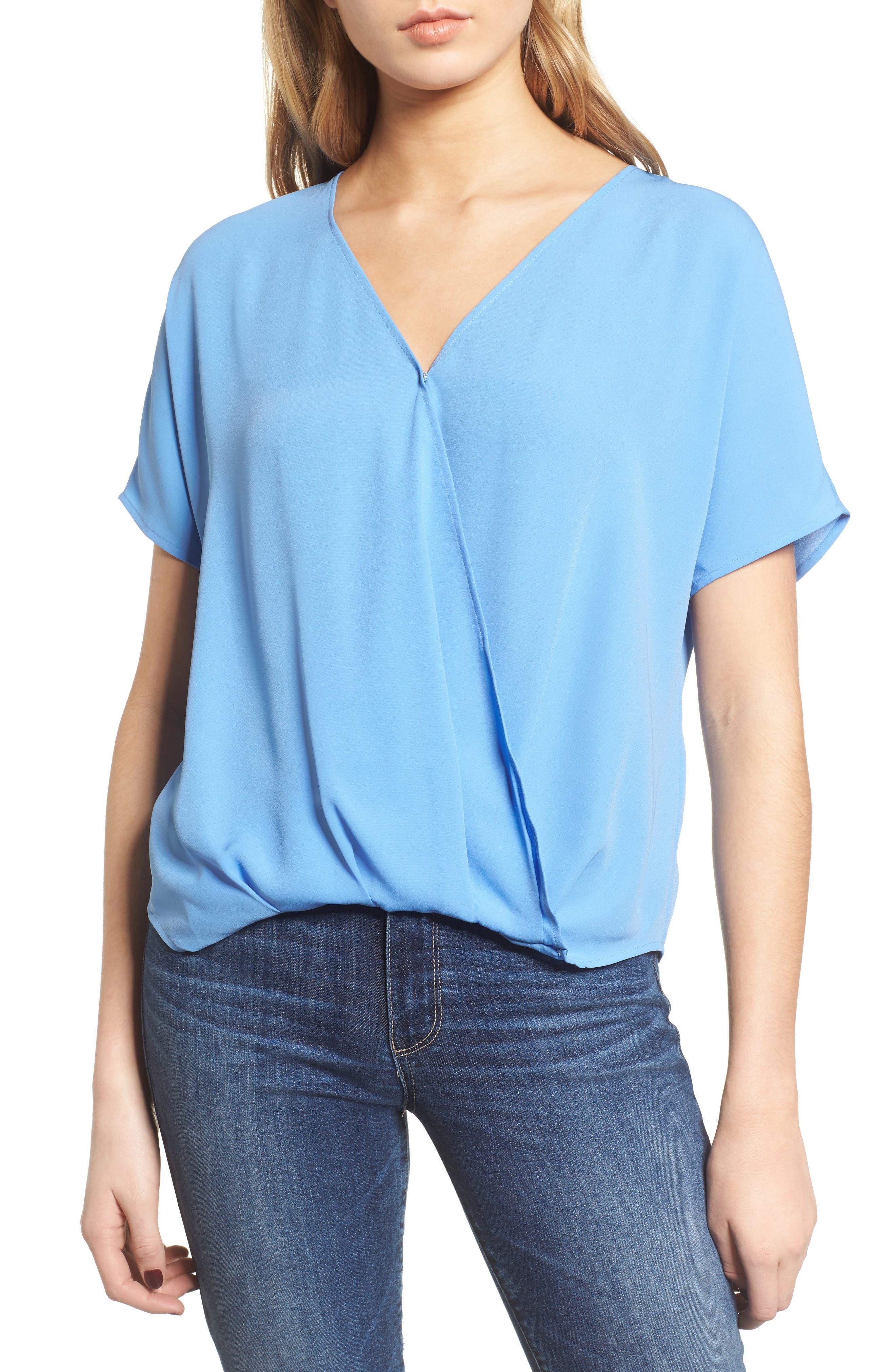 Surplice Top,                         Main,                         color, Blue Azurite