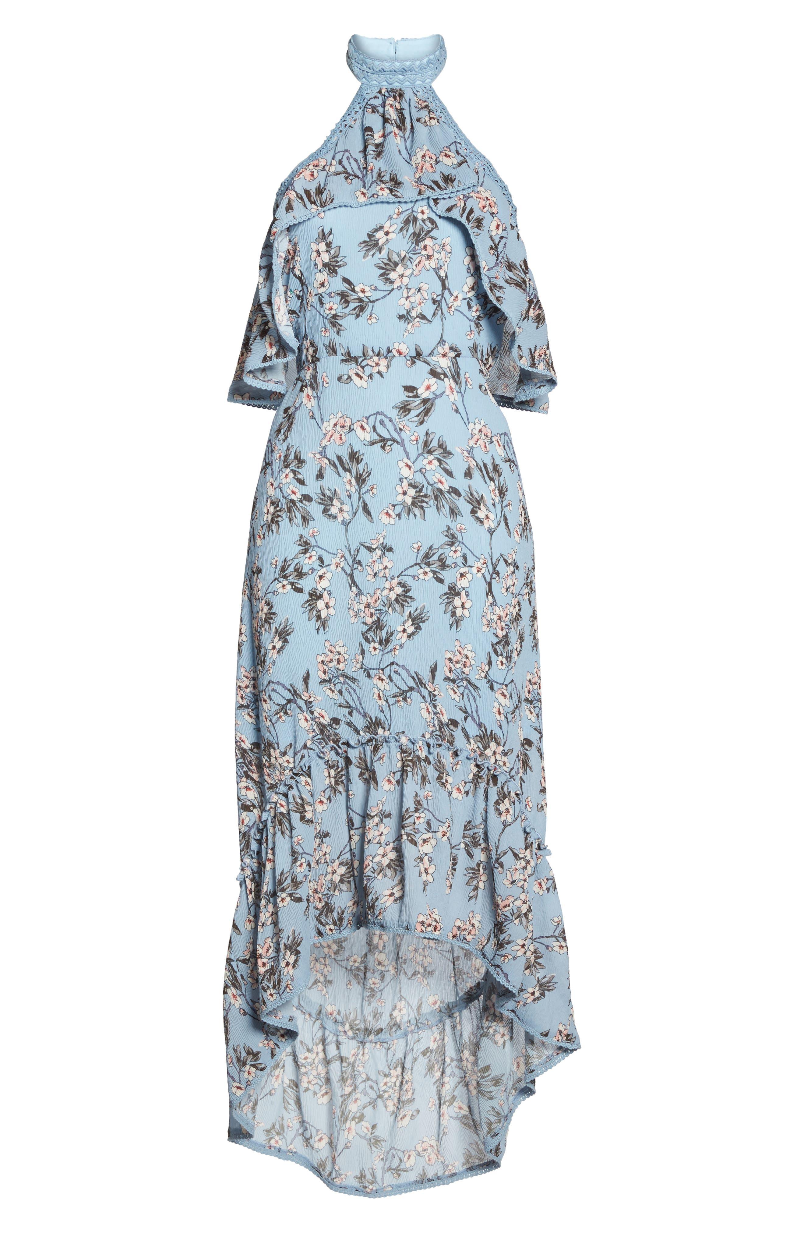 Floral Print High/Low Halter Dress,                             Alternate thumbnail 6, color,                             Blue Madison Floral