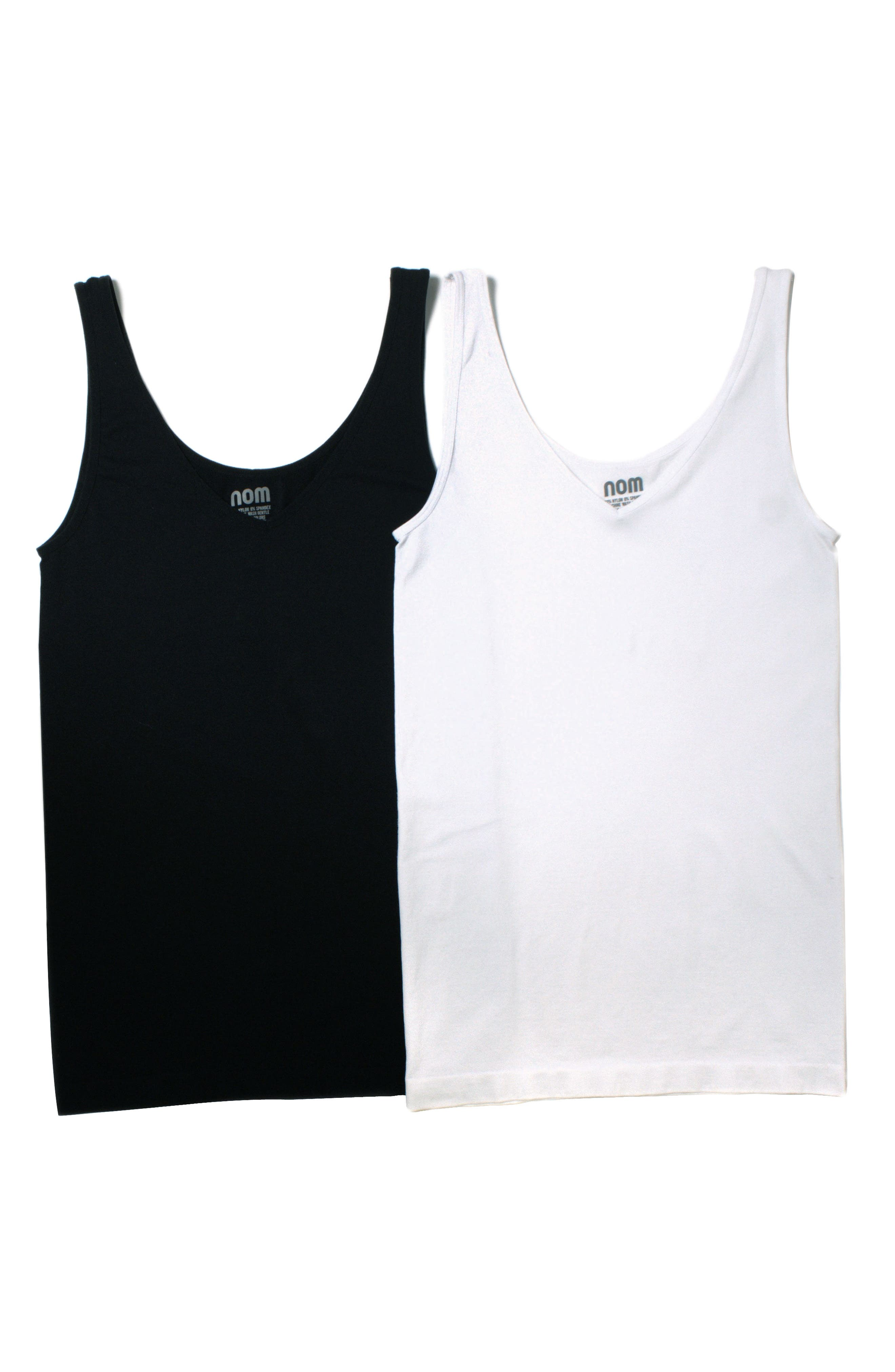 2-Pack Seamless Maternity Tanks,                         Main,                         color, Black And White Set