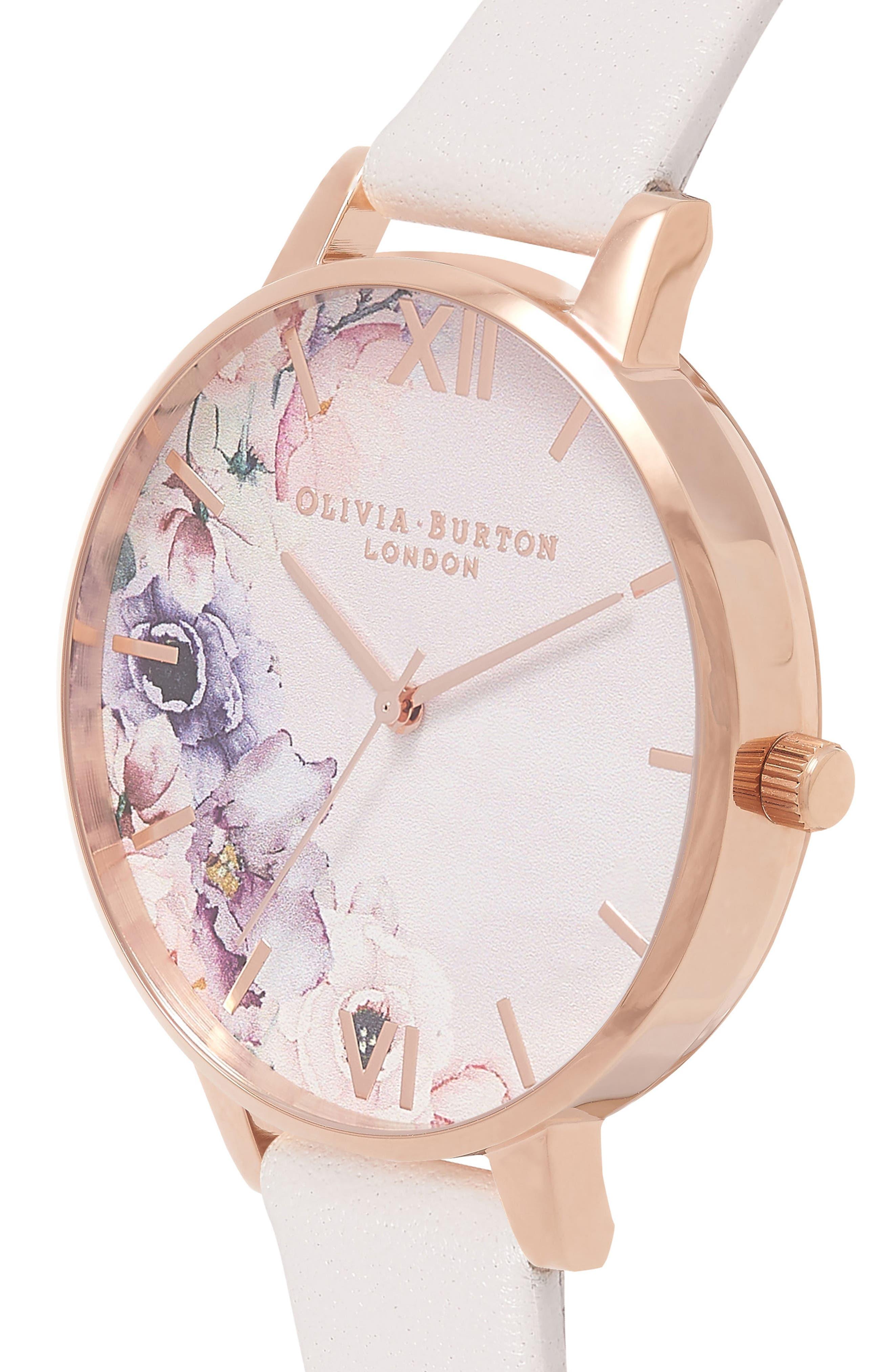 Watercolour Florals Leather Strap Watch, 38mm,                             Alternate thumbnail 3, color,                             Blush/ Floral/ Rose Gold