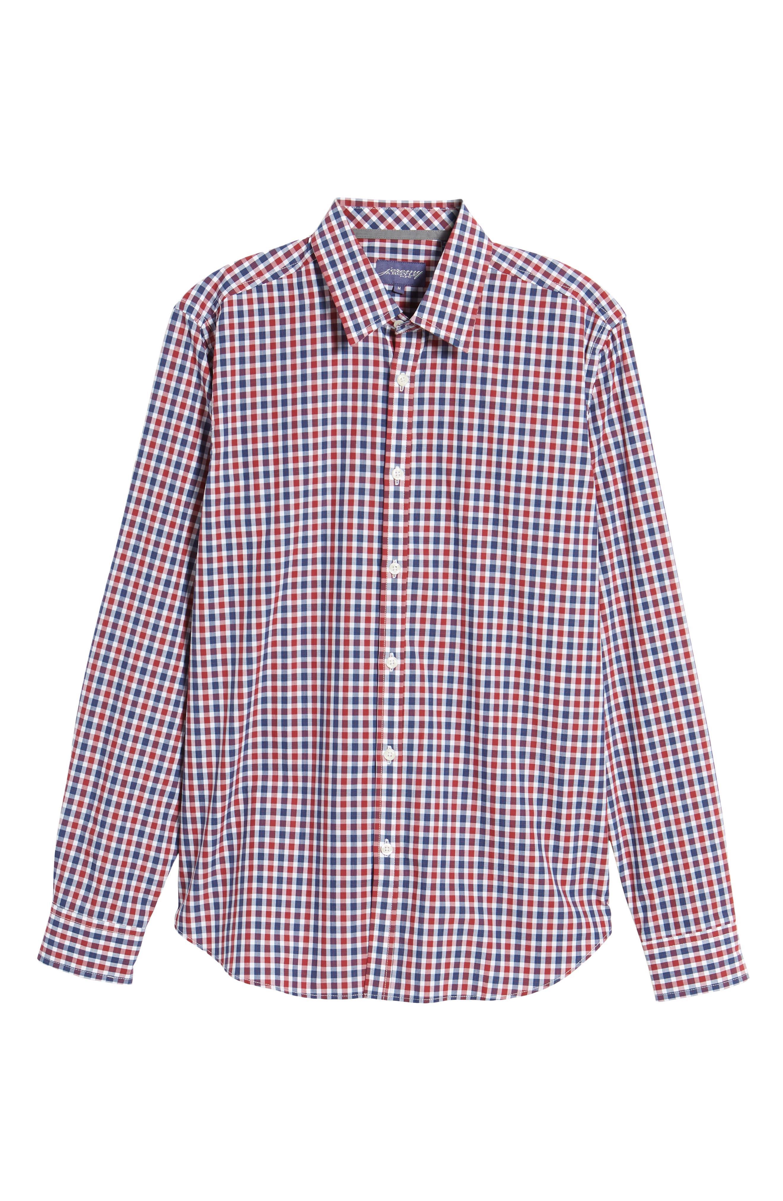Slim Fit Check Sport Shirt,                             Alternate thumbnail 6, color,                             Bright Red