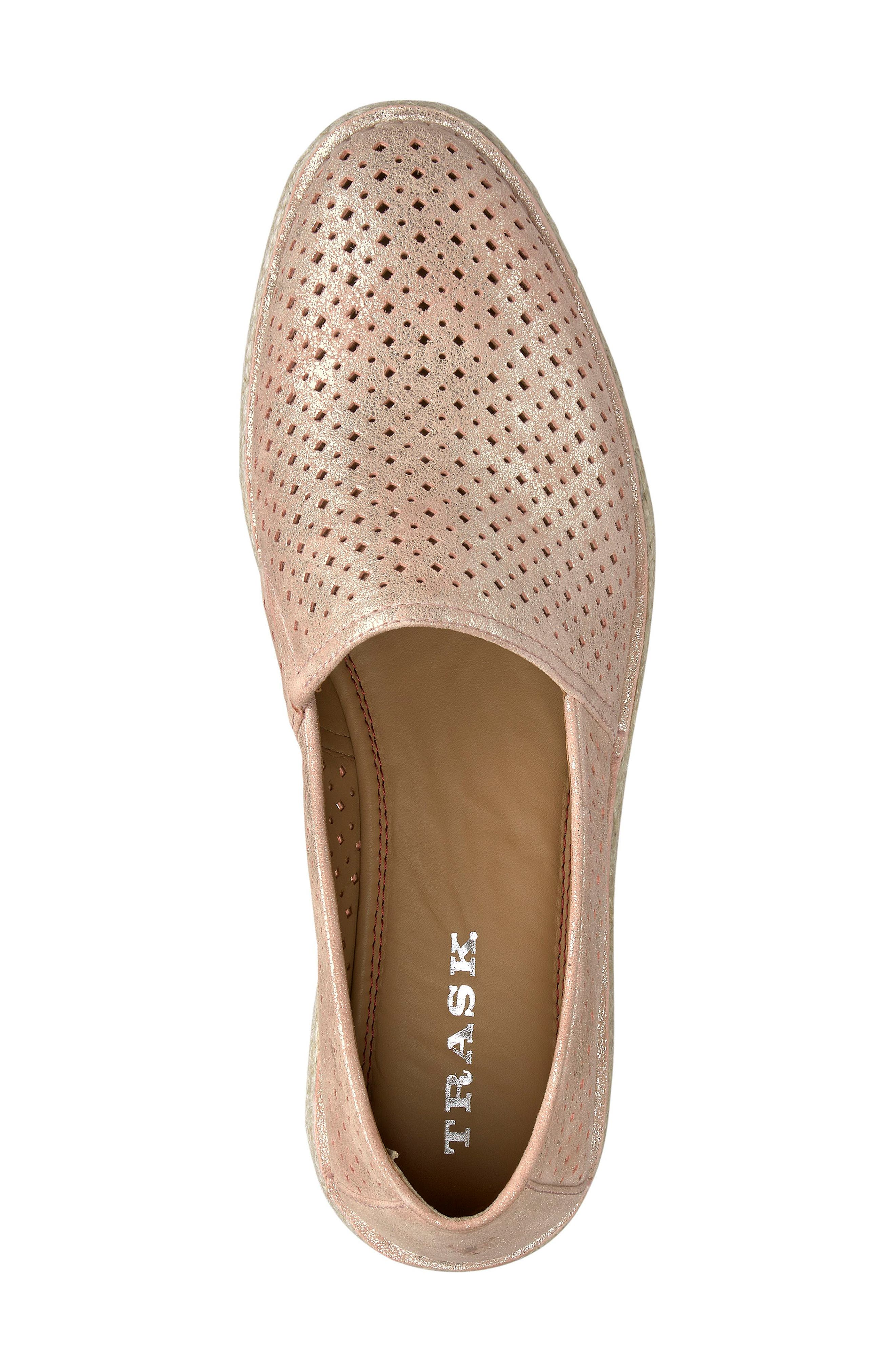 Paige Perforated Flat,                             Alternate thumbnail 5, color,                             Blush Metallic Suede