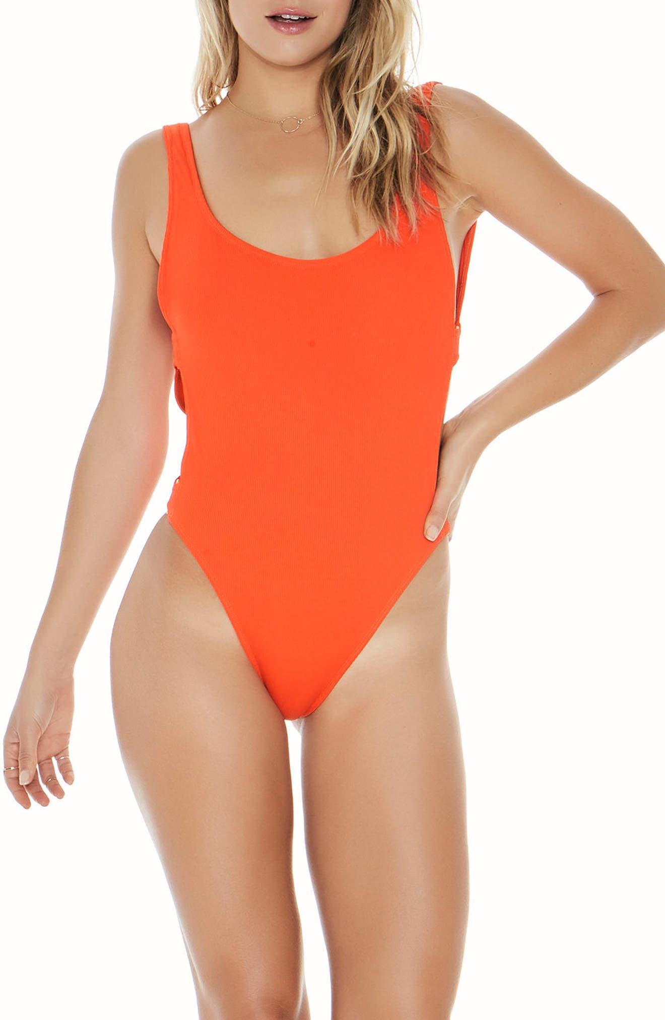 Mayra Ribbed One-Piece Swimsuit,                         Main,                         color, Poppy