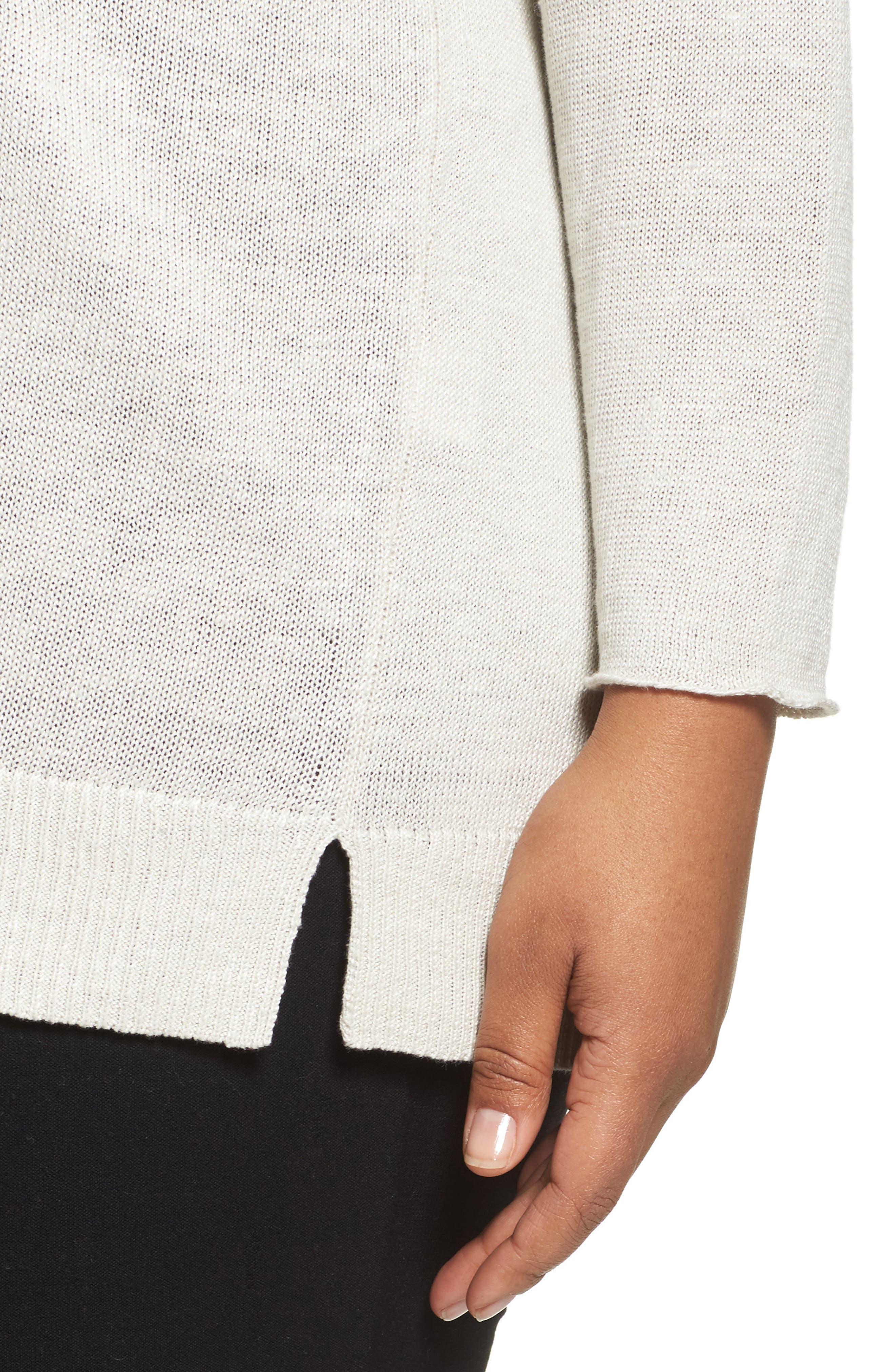 Organic Linen Sweater,                             Alternate thumbnail 4, color,                             Bone