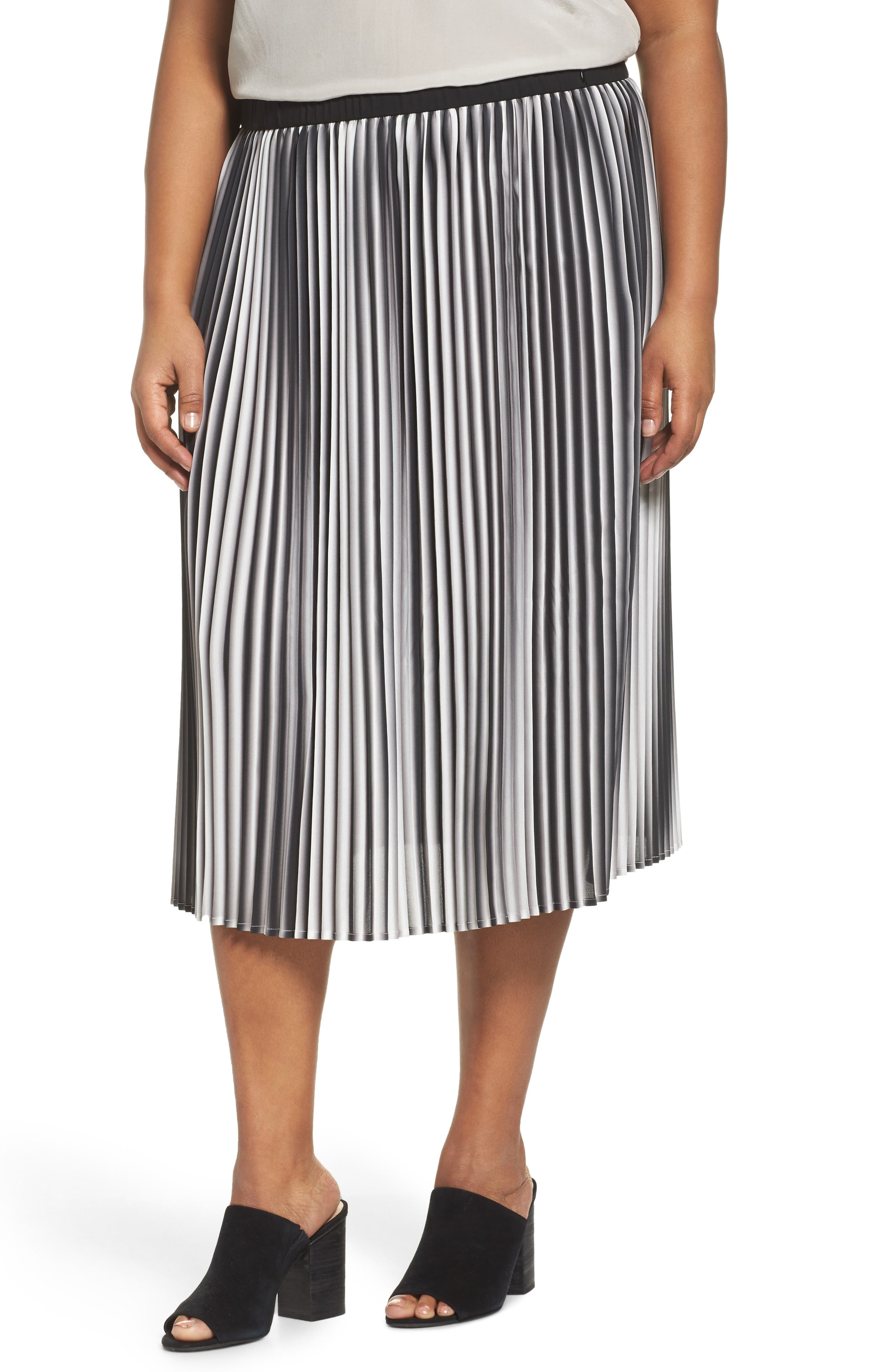Eileen Fisher Ombré Pleat Skirt (Plus Size)